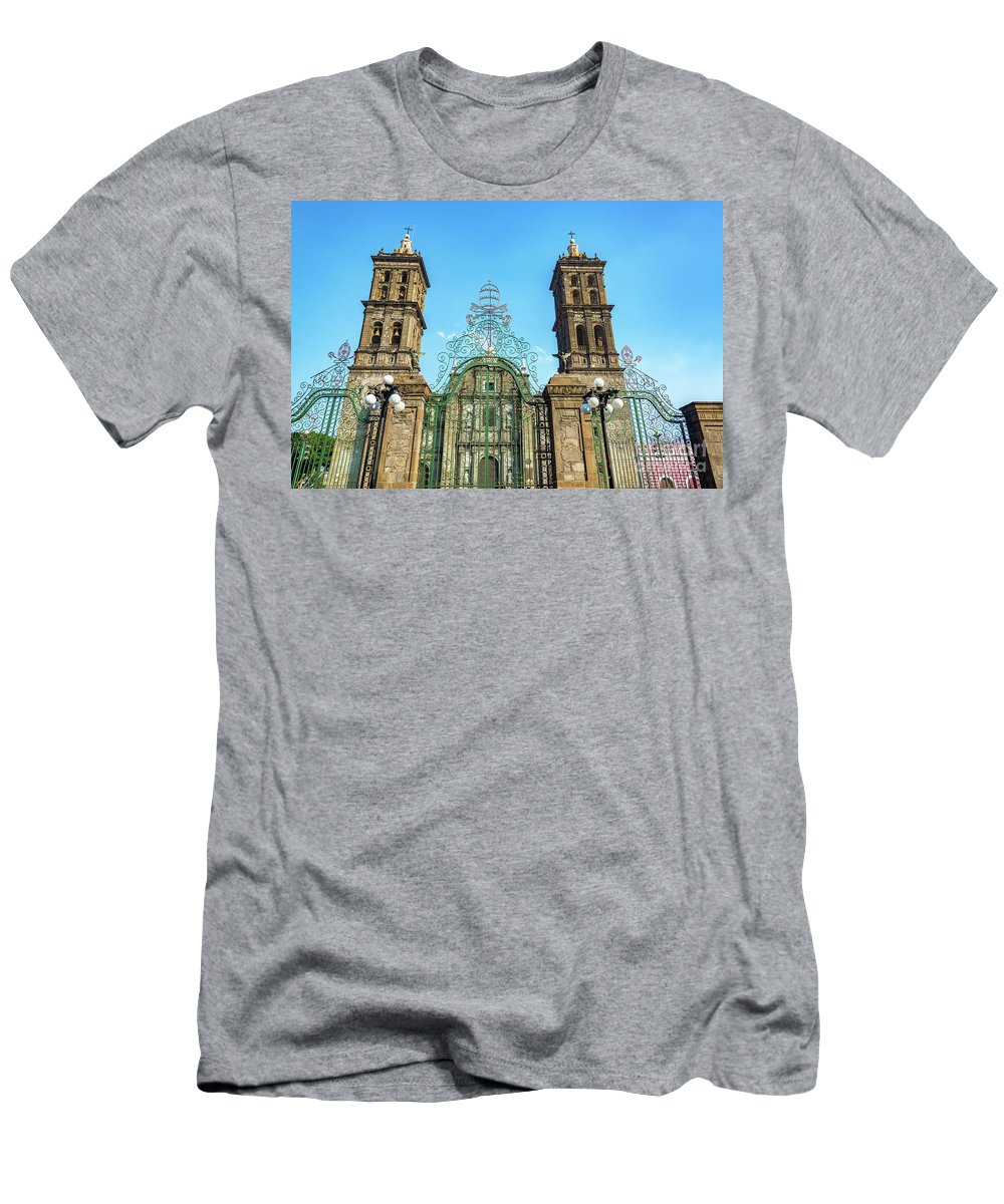 Puebla Men's T-Shirt (Athletic Fit) featuring the photograph Gate And Cathedral by Jess Kraft