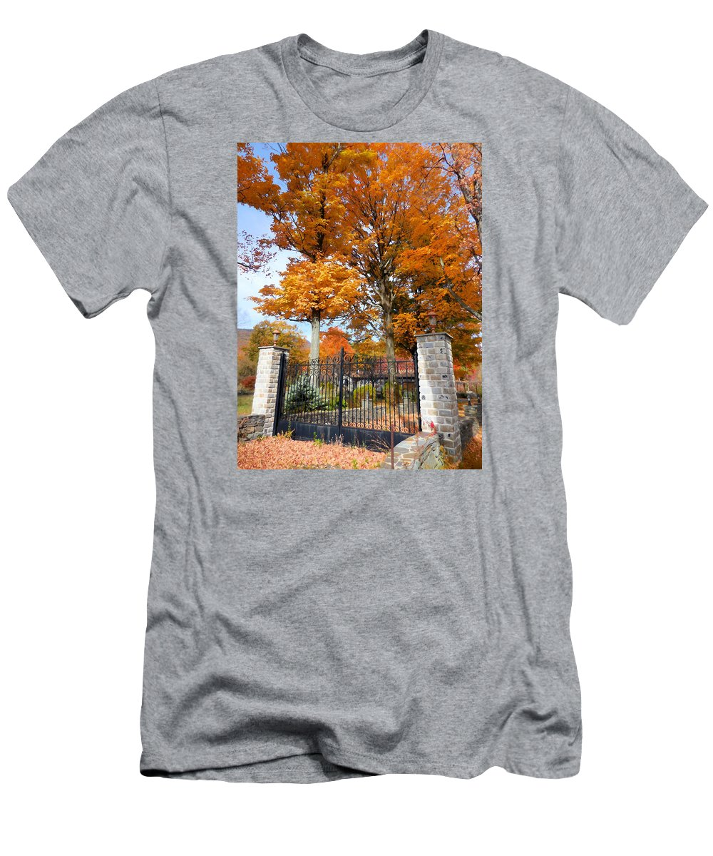 Gate And Driveway Men's T-Shirt (Athletic Fit) featuring the painting Gate And Driveway 3 by Jeelan Clark