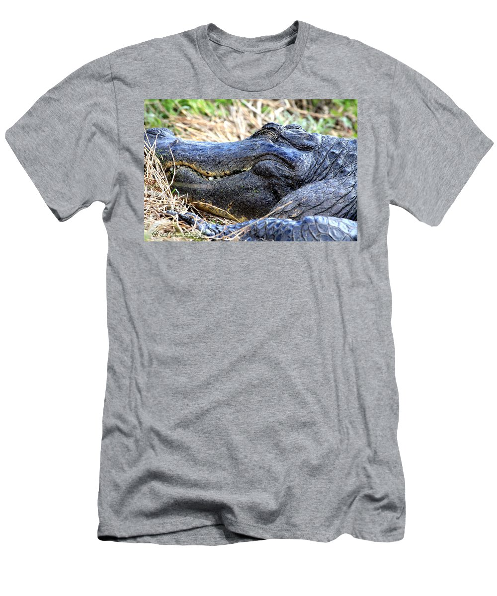 American Alligator Men's T-Shirt (Athletic Fit) featuring the photograph Gator Head by Barbara Bowen
