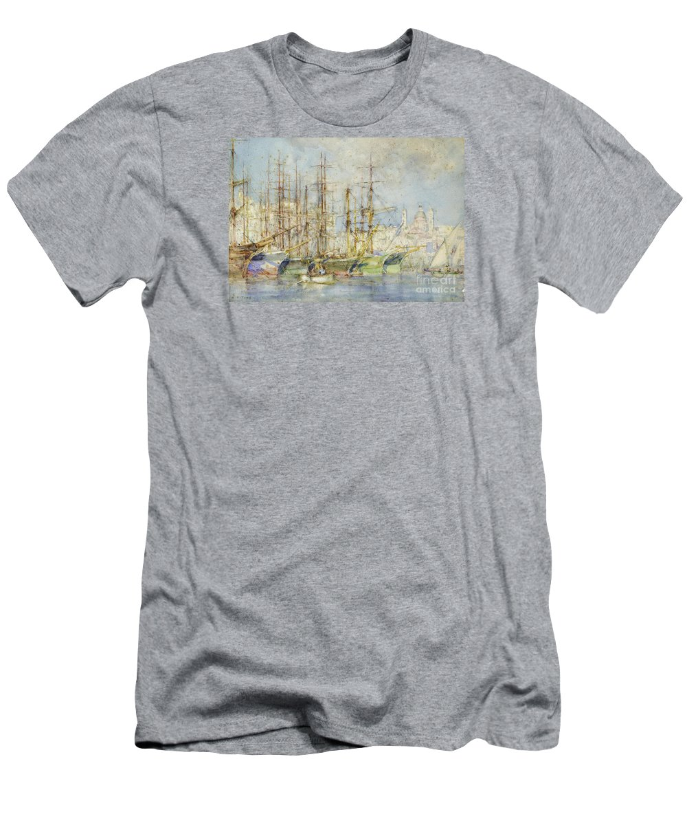 Henry Scott Tuke - Genoese Shipping. Sea Men's T-Shirt (Athletic Fit) featuring the painting Genoese Shipping by MotionAge Designs