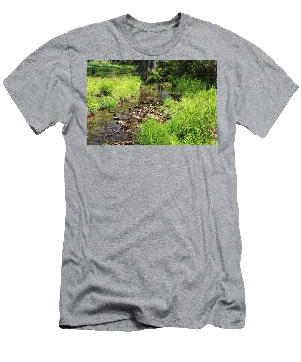 Brook Men's T-Shirt (Athletic Fit) featuring the photograph Gently Flowing Brook by Gordon Cain