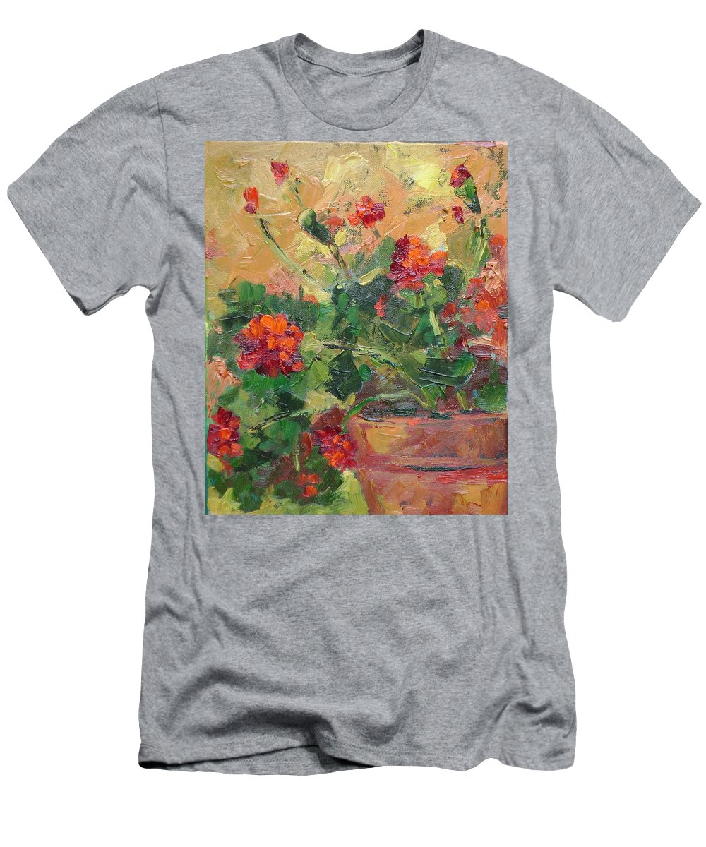 Geraniums Men's T-Shirt (Athletic Fit) featuring the painting Geraniums II by Ginger Concepcion