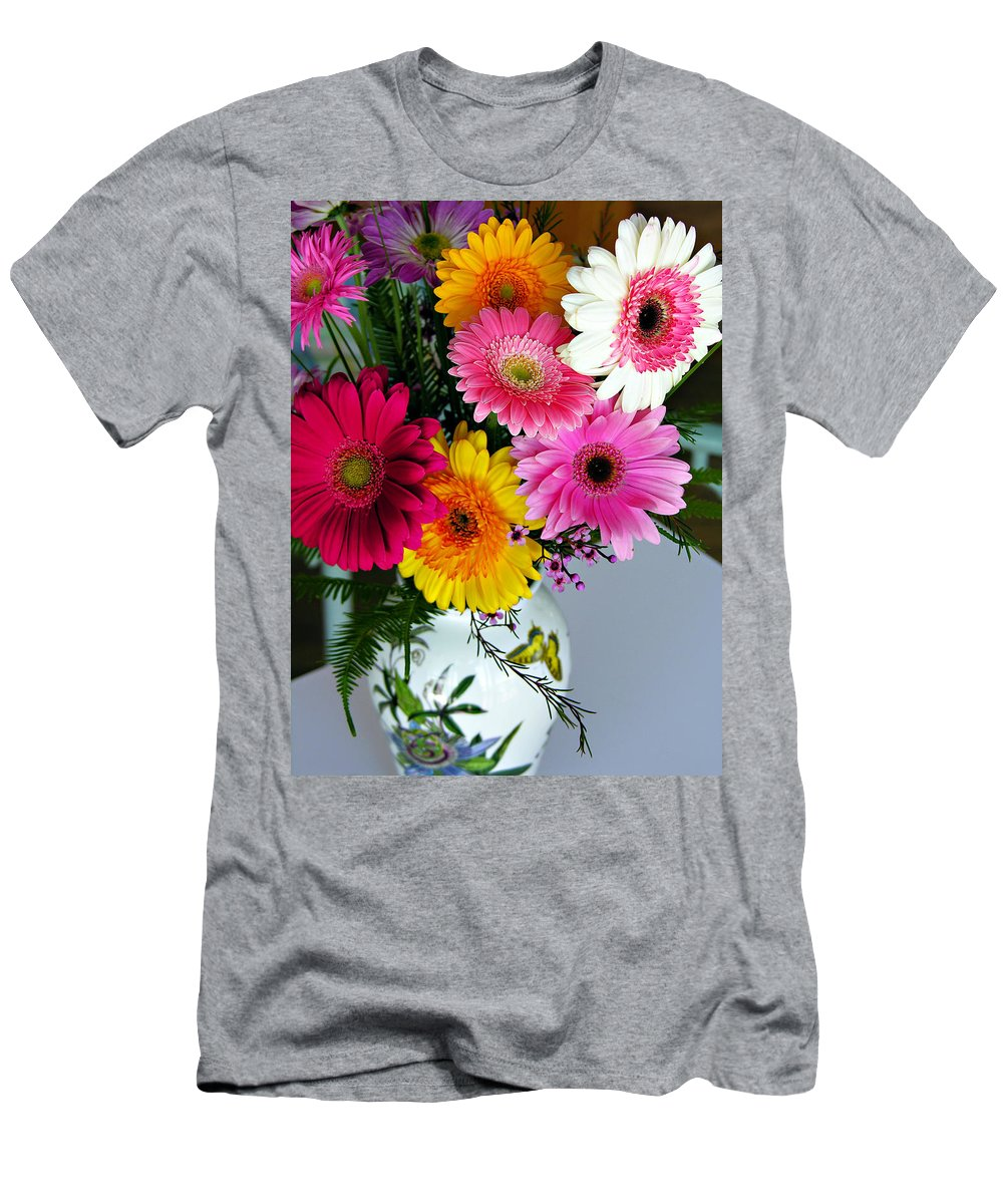 Flower Men's T-Shirt (Athletic Fit) featuring the photograph Gerbera Daisy Bouquet by Marilyn Hunt