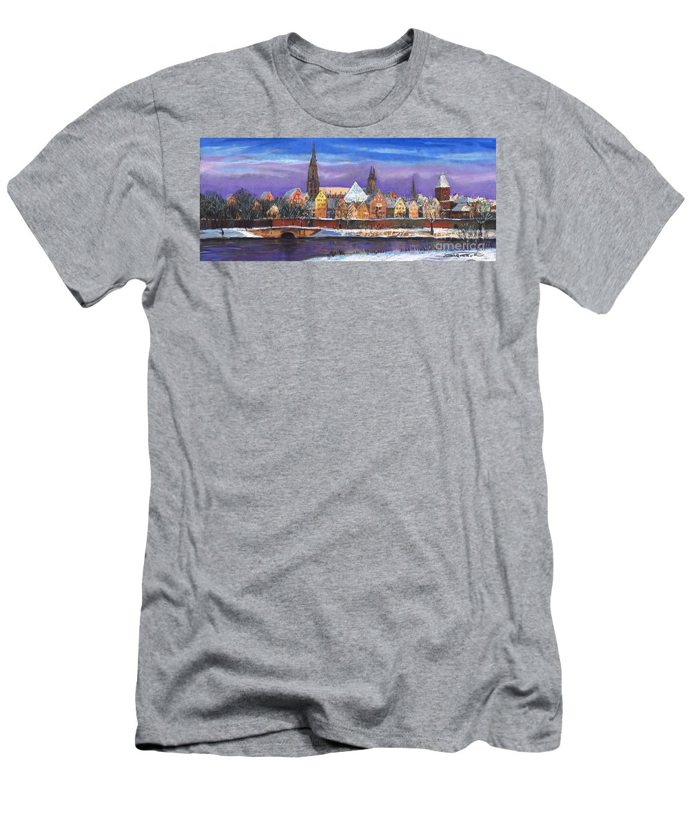 Pastel Men's T-Shirt (Athletic Fit) featuring the painting Germany Ulm Panorama Winter by Yuriy Shevchuk