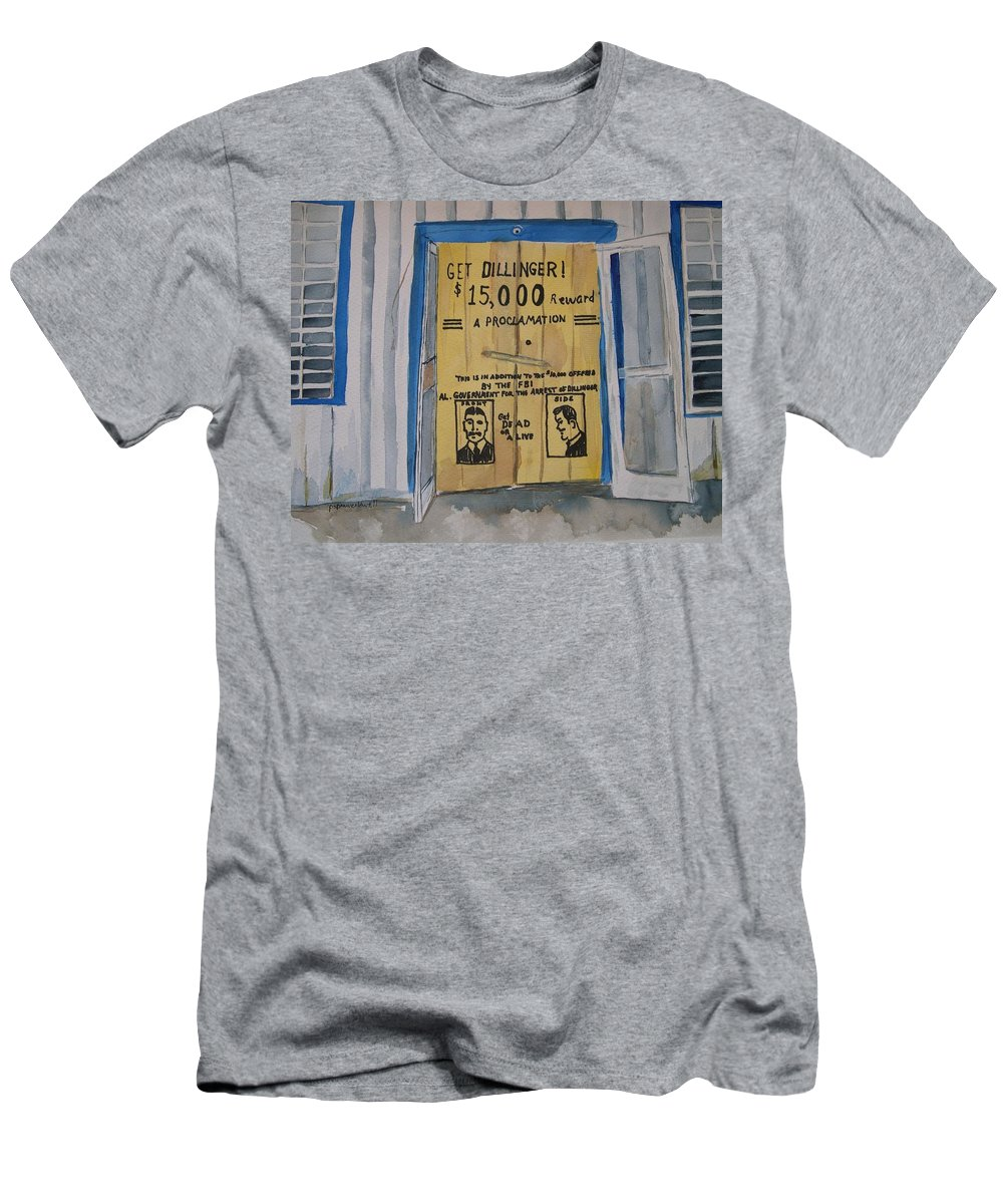 Building Men's T-Shirt (Athletic Fit) featuring the painting Get Dillinger by Patricia Caldwell