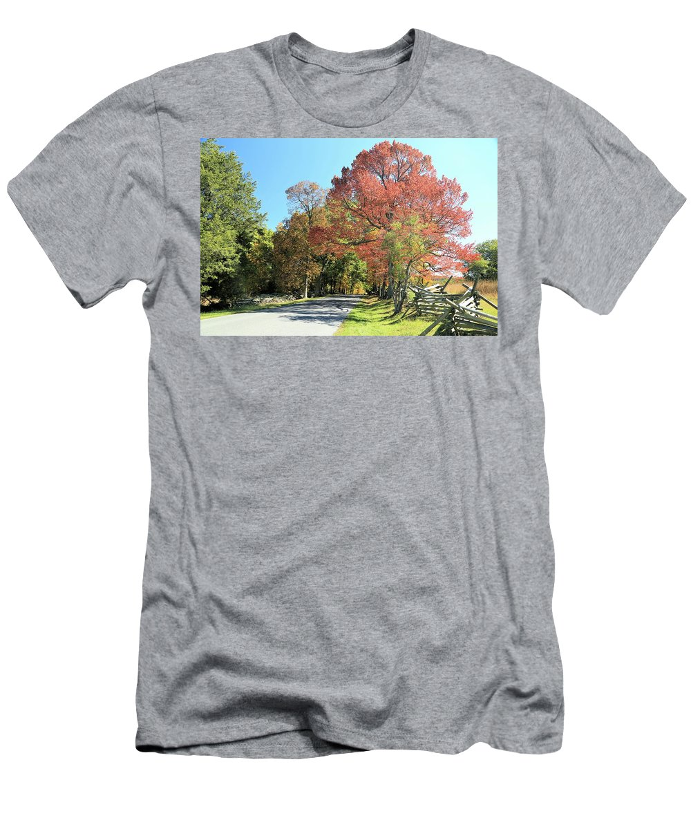 Photosbymch Men's T-Shirt (Athletic Fit) featuring the photograph Gettysburg In The Fall by M C Hood