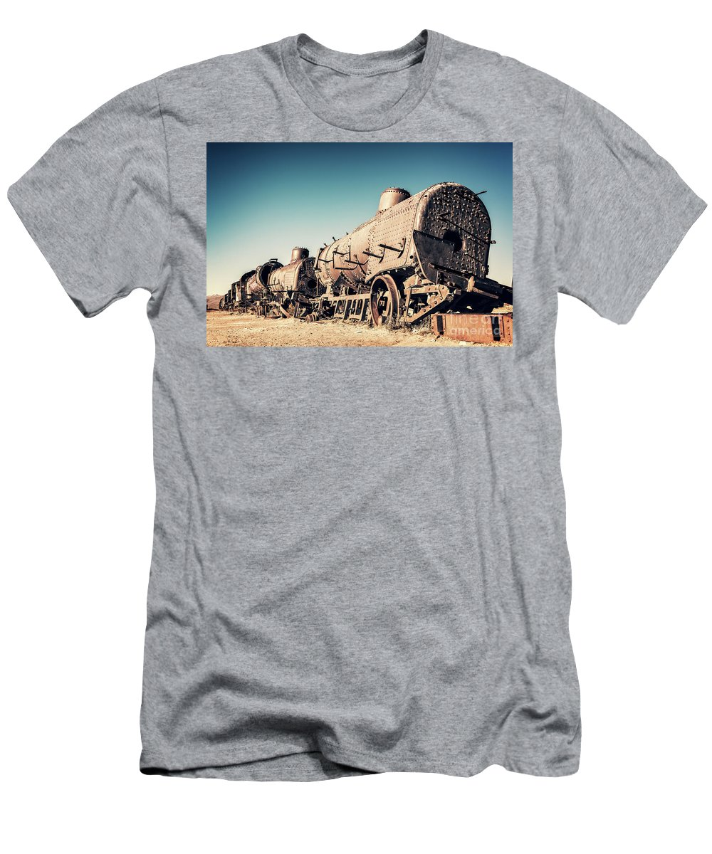 Train Men's T-Shirt (Athletic Fit) featuring the photograph Ghost Train In Uyuni, Bolivia by Delphimages Photo Creations