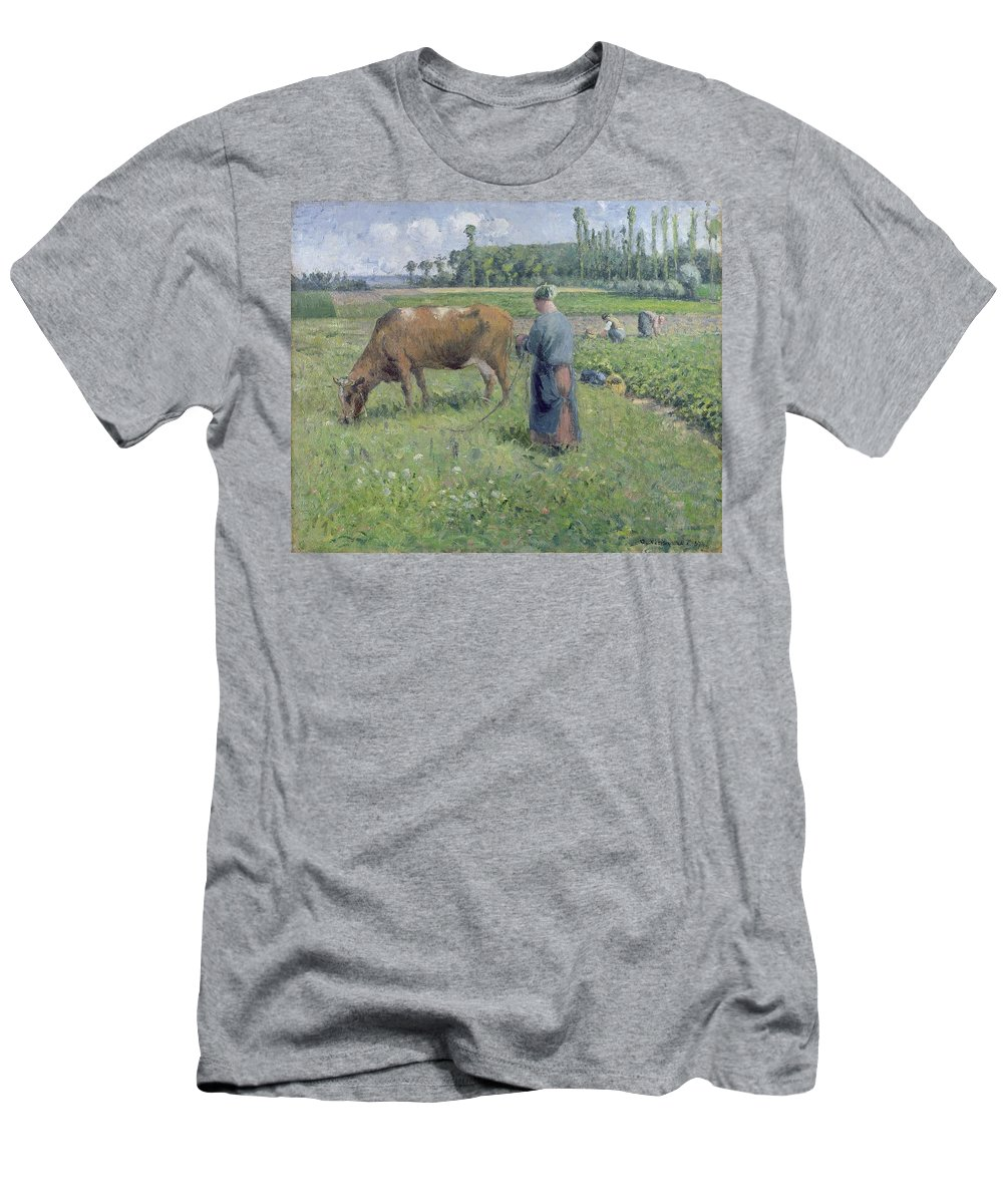Girl Men's T-Shirt (Athletic Fit) featuring the painting Girl Tending A Cow In Pasture by Camille Pissarro