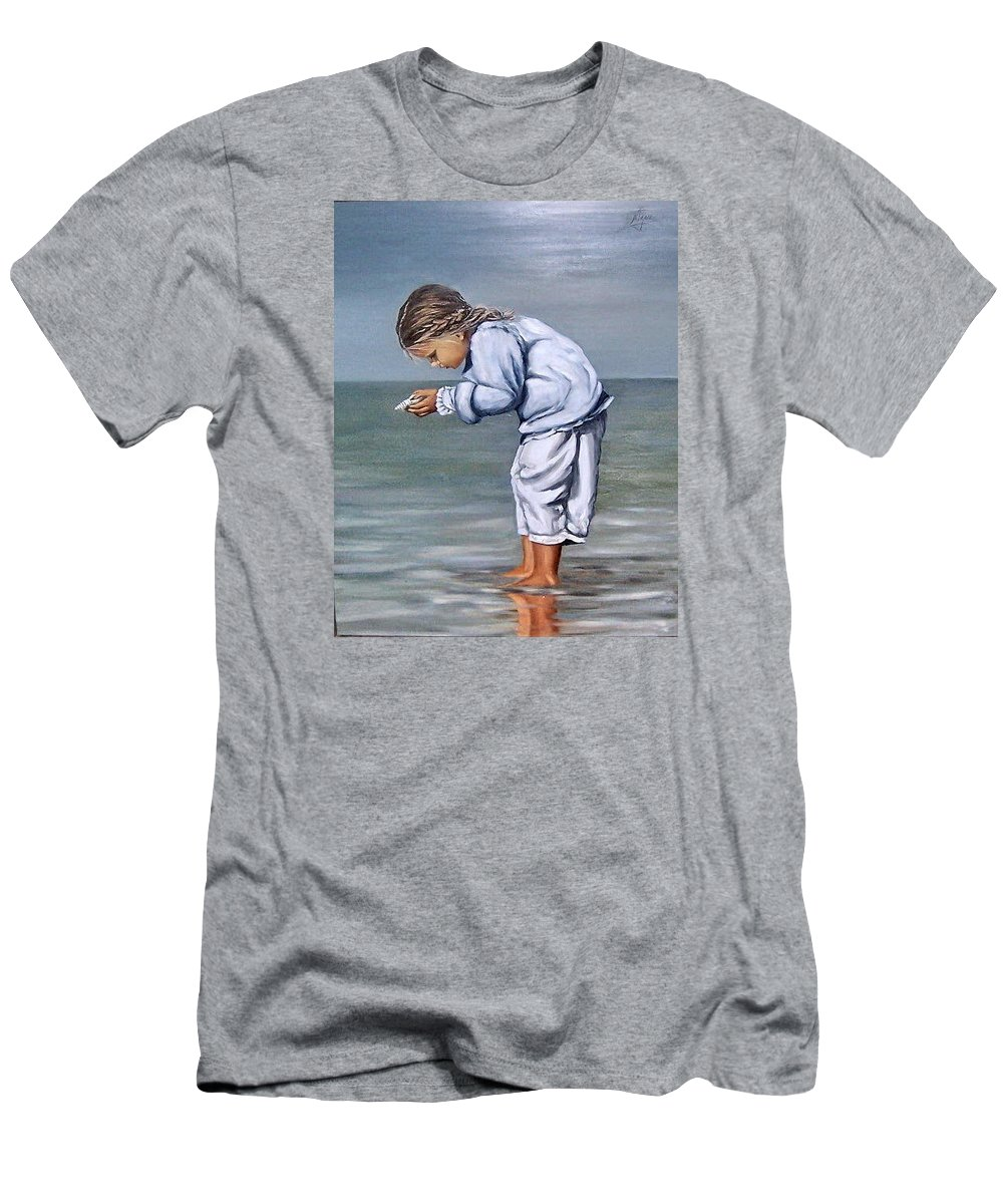 Kid Girl Seascape Sea Children Reflection Water Sea Shell Figurative Men's T-Shirt (Athletic Fit) featuring the painting Girl With Shell by Natalia Tejera