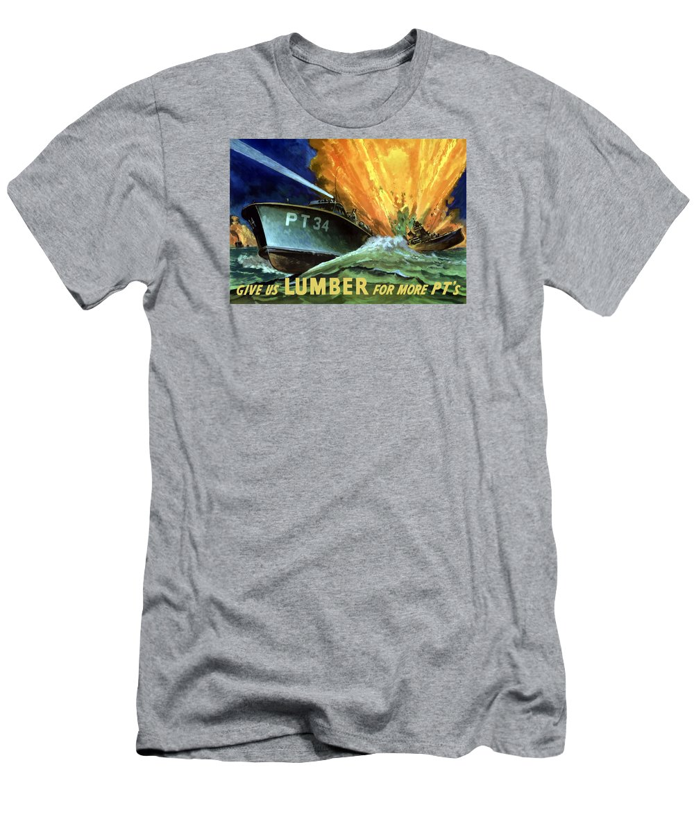 Pt Boat Men's T-Shirt (Athletic Fit) featuring the painting Give Us Lumber For More Pt's by War Is Hell Store