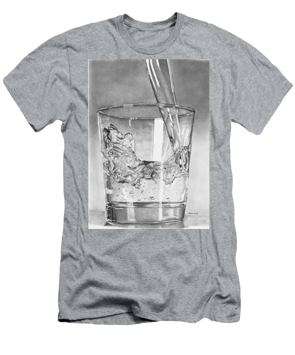 Glass Men's T-Shirt (Athletic Fit) featuring the drawing Glass Of Water by Carl Moore