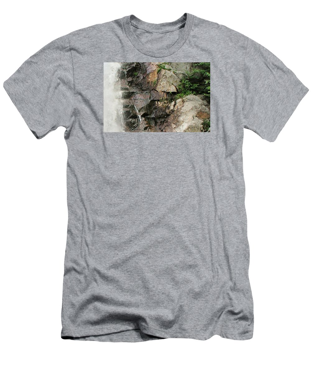 Waterfall Men's T-Shirt (Athletic Fit) featuring the photograph Glen Falls Abstract by Dave Martsolf