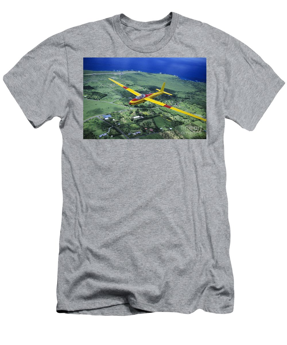 Aerial Men's T-Shirt (Athletic Fit) featuring the photograph Gliding Over Hana by Ray Mains - Printscapes