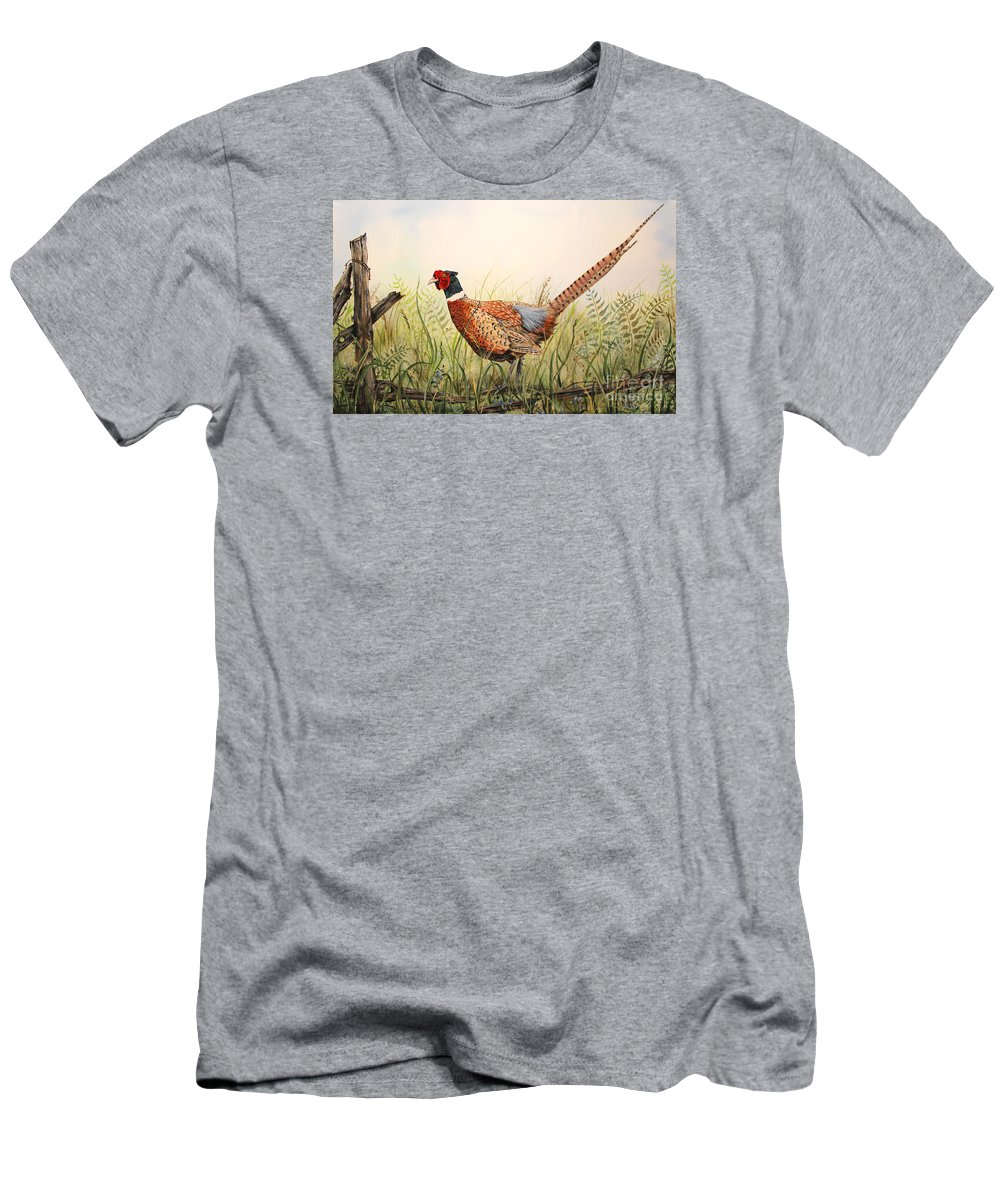 Acrylic Painting Men's T-Shirt (Athletic Fit) featuring the painting Glorious Pheasant-1 by Jean Plout