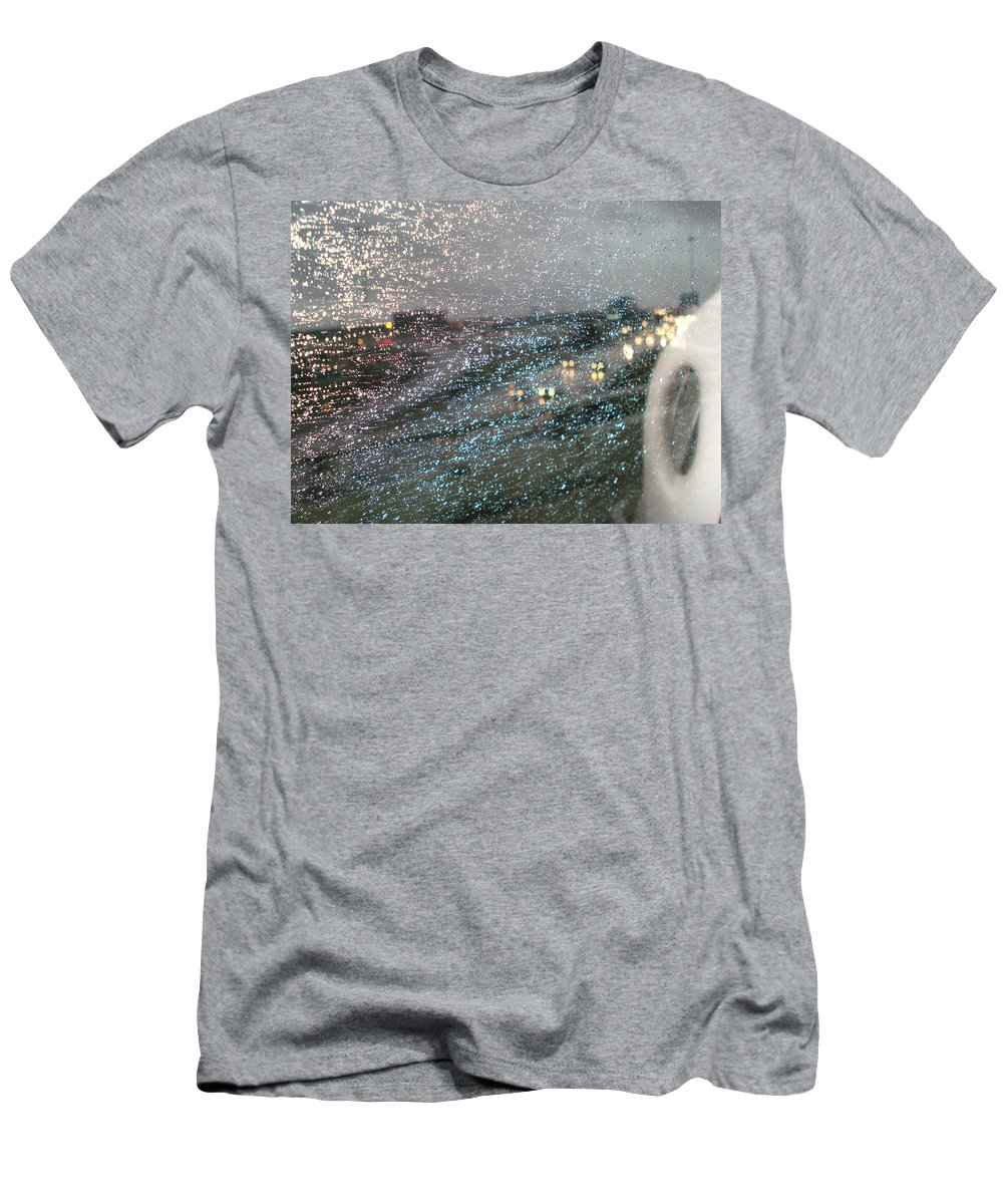 Usha Men's T-Shirt (Athletic Fit) featuring the photograph Glowing Raindrops In The City by Usha Shantharam