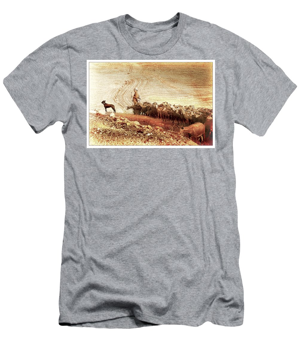 Goats Men's T-Shirt (Athletic Fit) featuring the photograph Goatherd by Mal Bray