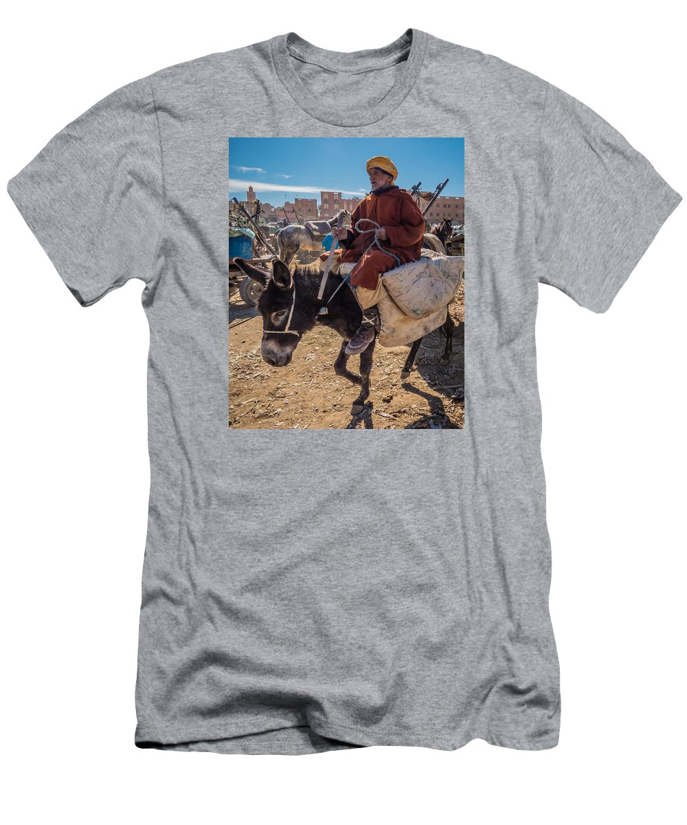 Market Men's T-Shirt (Athletic Fit) featuring the photograph Going To The Rissani Market by Claudio Maioli