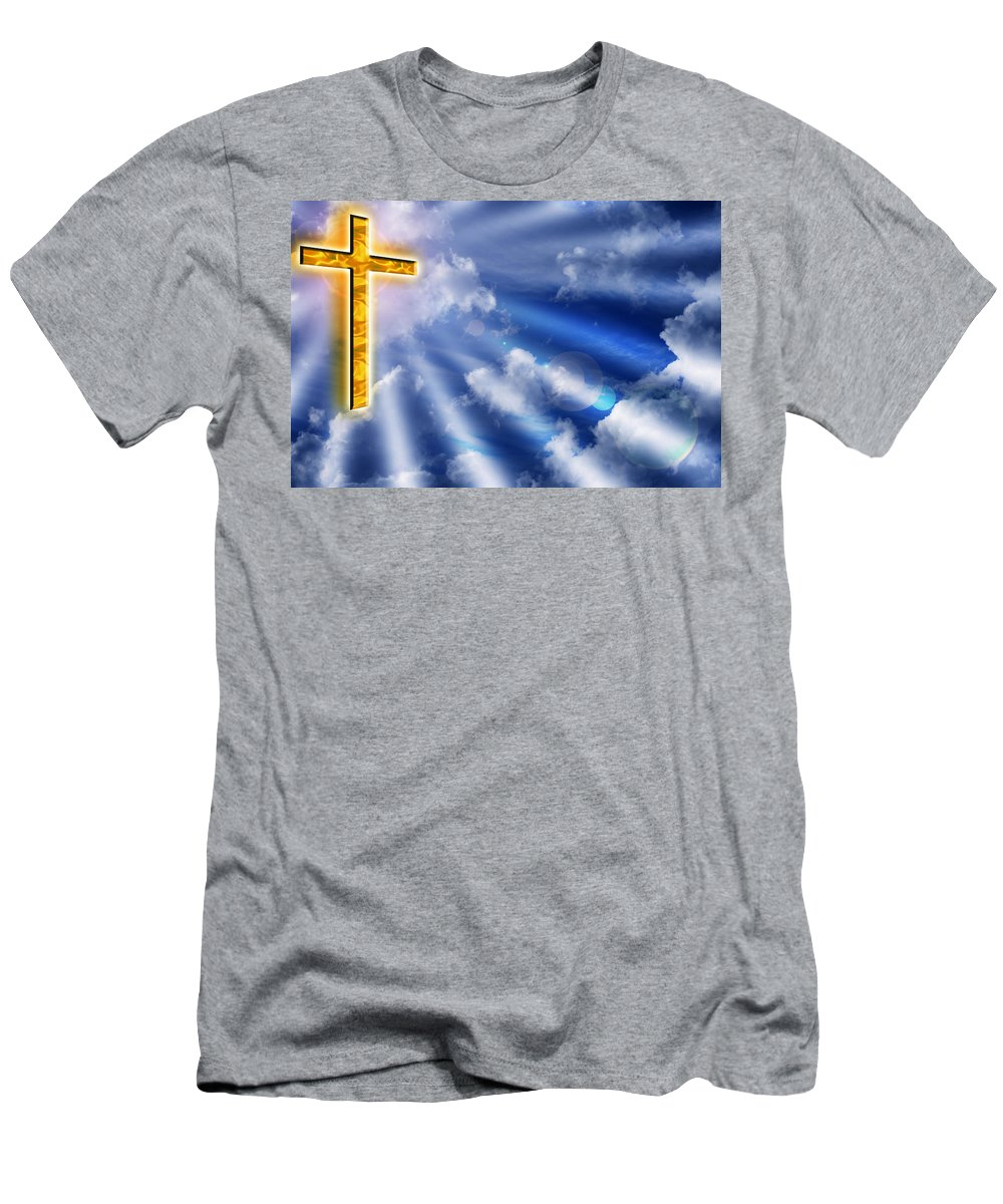 Cross Men's T-Shirt (Athletic Fit) featuring the photograph Golden Cross by Phill Petrovic