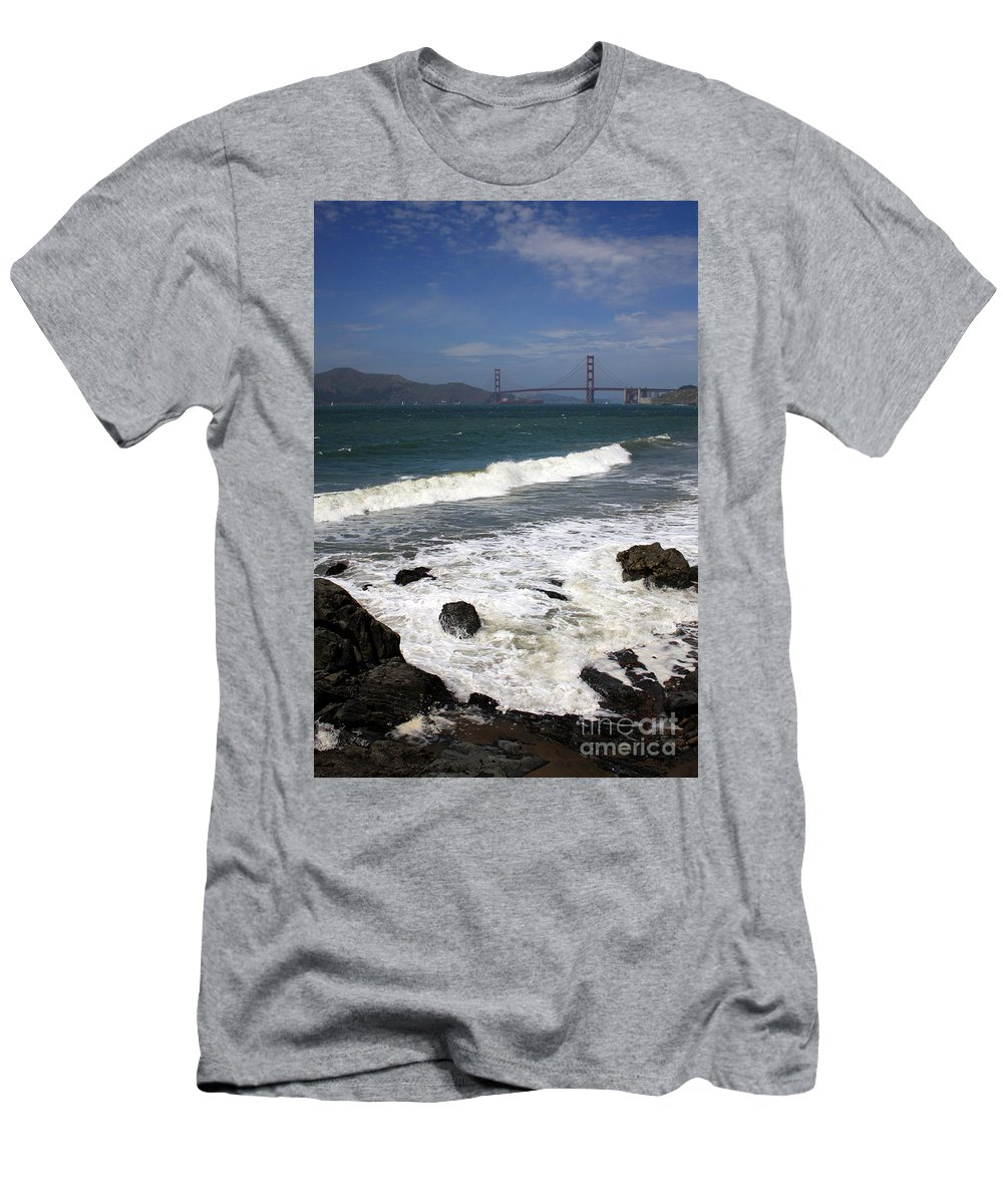 San Francisco Men's T-Shirt (Athletic Fit) featuring the photograph Golden Gate Bridge With Surf by Carol Groenen