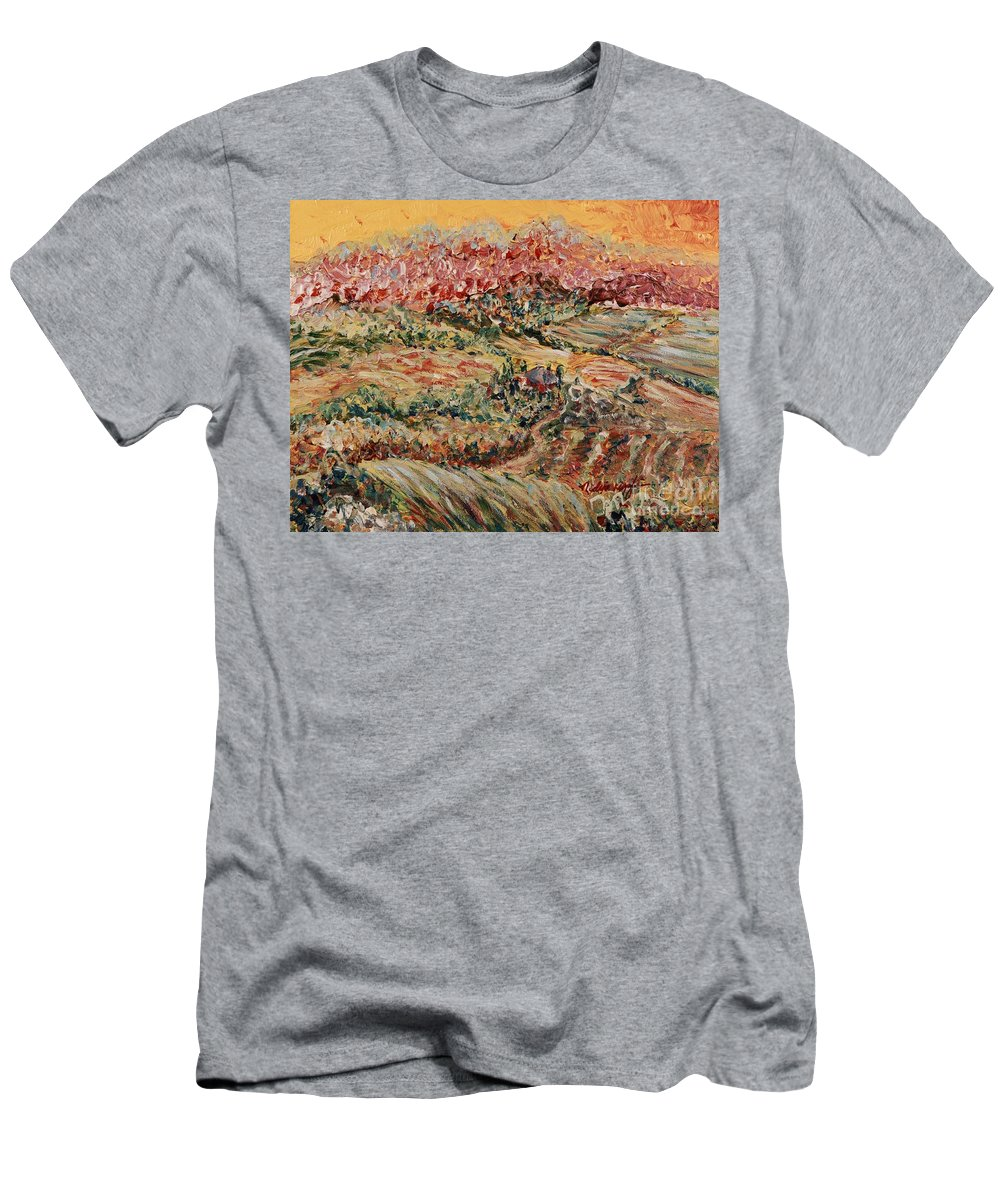 Provence Men's T-Shirt (Athletic Fit) featuring the painting Golden Provence by Nadine Rippelmeyer