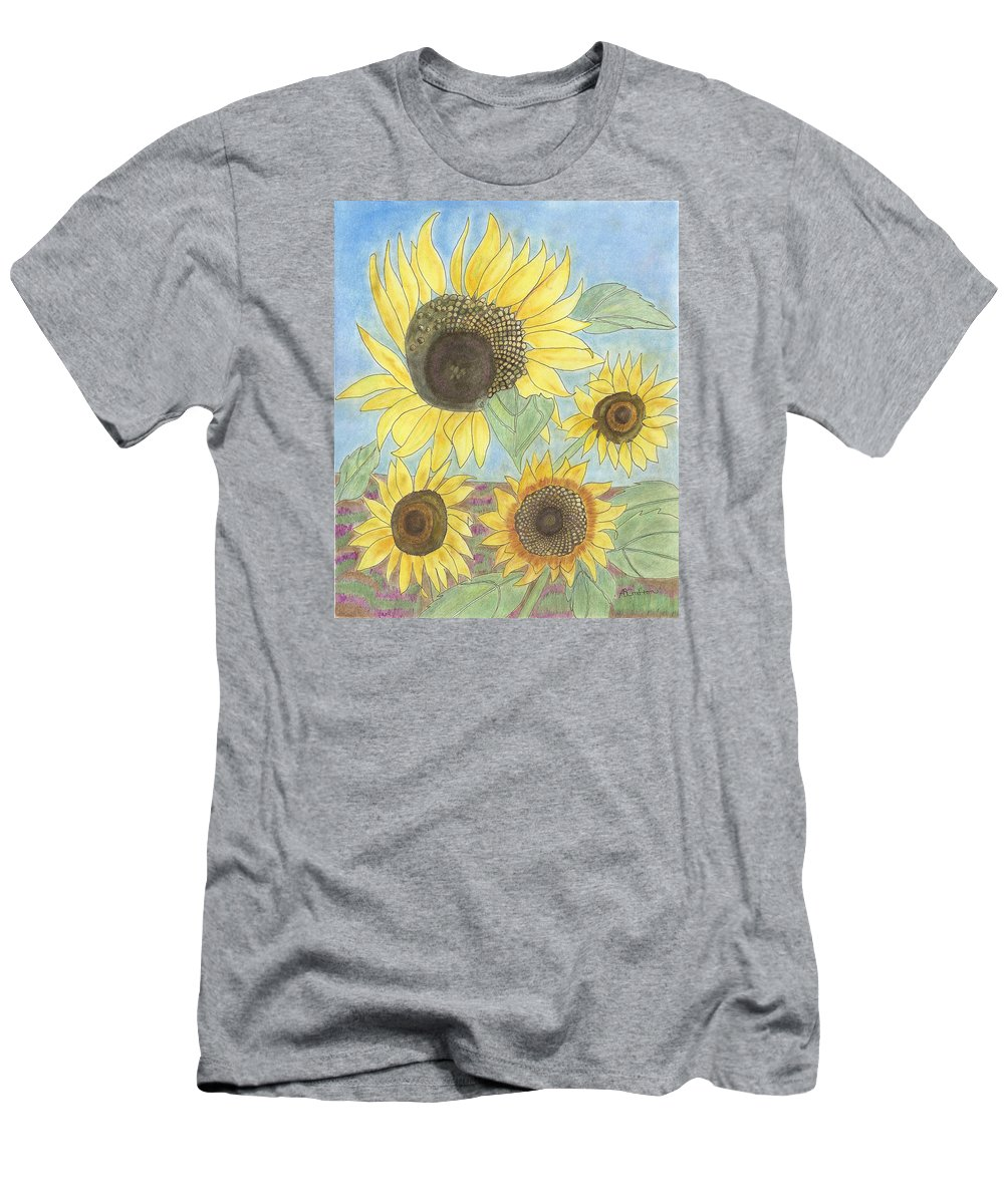 Sunflowers Men's T-Shirt (Athletic Fit) featuring the drawing Golden Quartet by Arlene Crafton