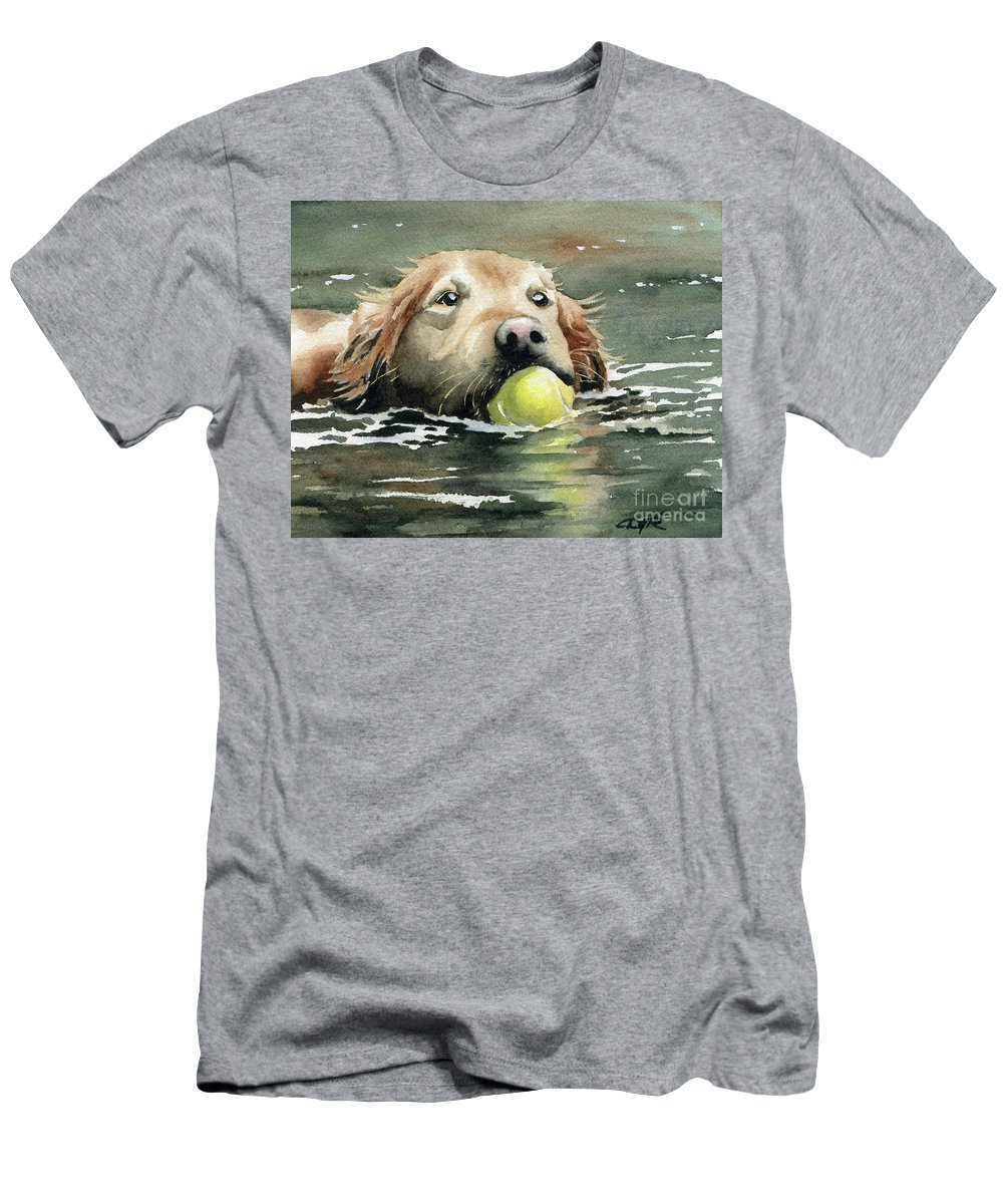 Golden Men's T-Shirt (Athletic Fit) featuring the painting Golden Retriever Swimming by David Rogers