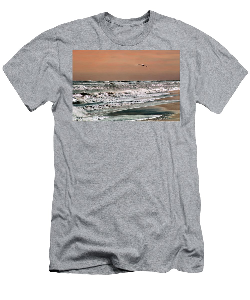 Seascape Men's T-Shirt (Athletic Fit) featuring the photograph Golden Shore by Steve Karol