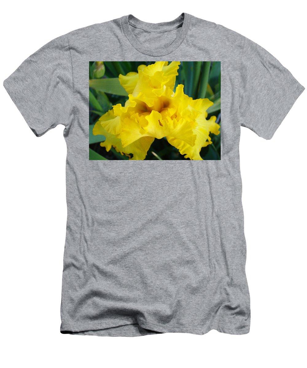 �irises Artwork� Men's T-Shirt (Athletic Fit) featuring the photograph Golden Yellow Iris Flower Garden Irises Flora Art Prints Baslee Troutman by Baslee Troutman
