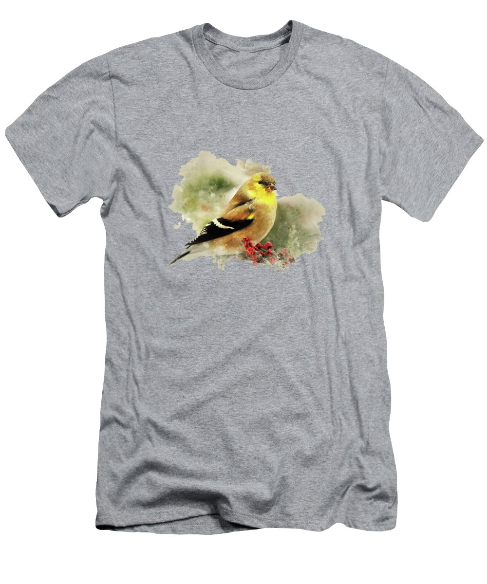 Goldfinch Men's T-Shirt (Athletic Fit) featuring the mixed media Goldfinch Watercolor Art by Christina Rollo