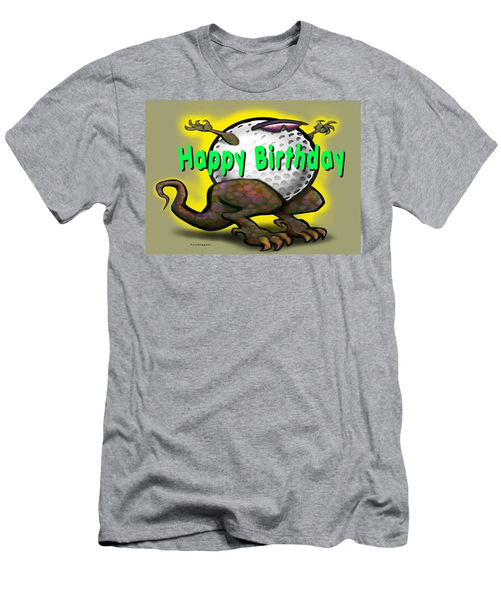 Golf Men's T-Shirt (Athletic Fit) featuring the greeting card Golf A Saurus Birthday by Kevin Middleton