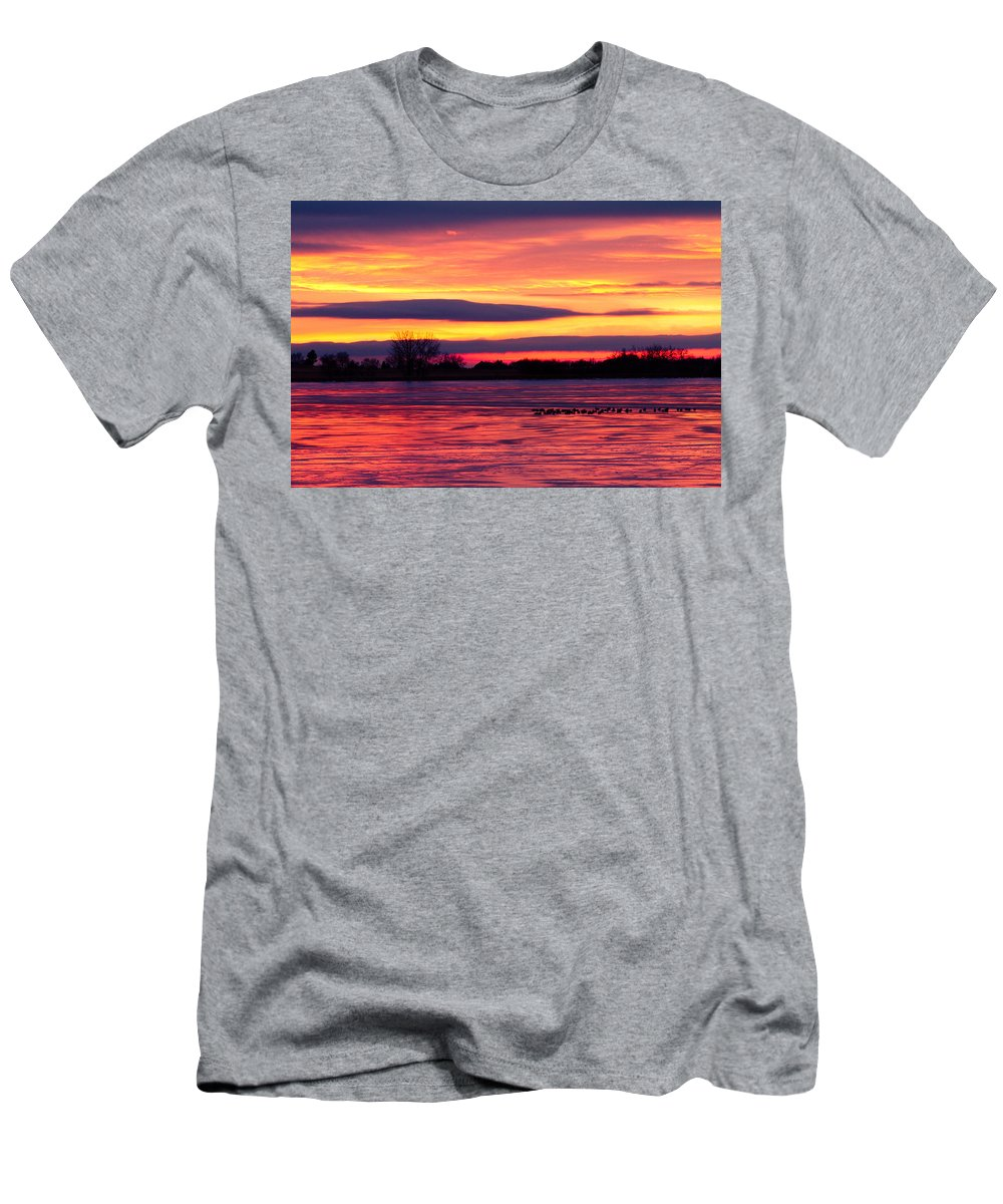 canvas Print Men's T-Shirt (Athletic Fit) featuring the photograph Good Morning Geese by James BO Insogna