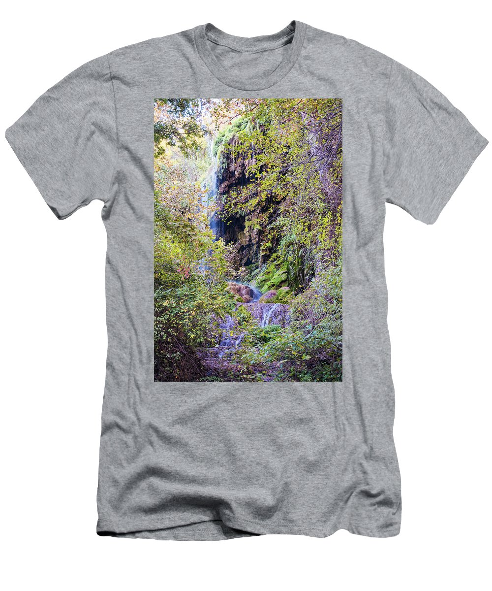 Central Men's T-Shirt (Athletic Fit) featuring the photograph Gorman Falls At Colorado State Park IIi - San Saba Texas Hill Country by Silvio Ligutti