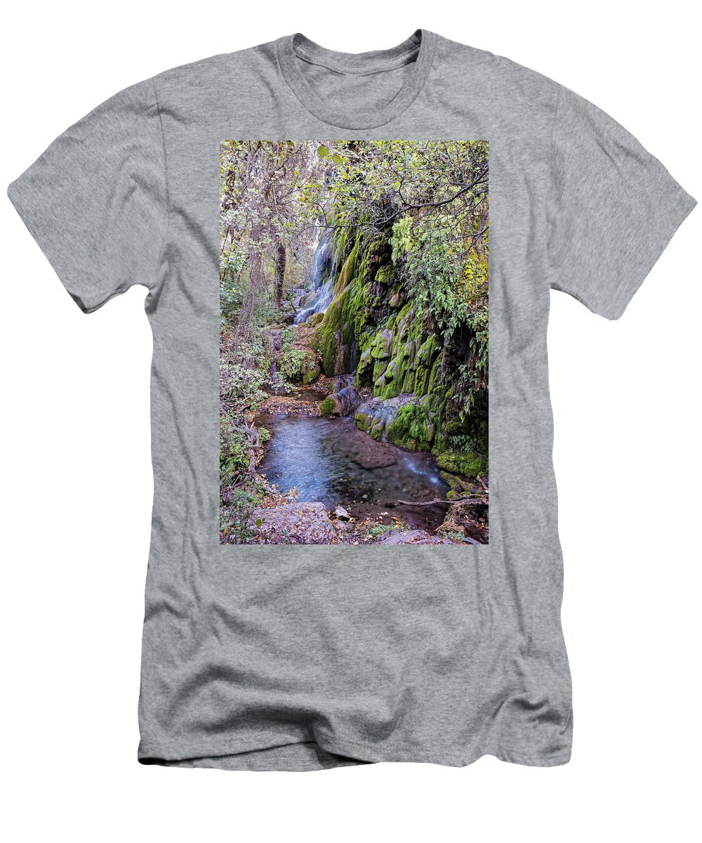 Central Men's T-Shirt (Athletic Fit) featuring the photograph Gorman Falls At Colorado State Park - San Saba Texas Hill Country by Silvio Ligutti