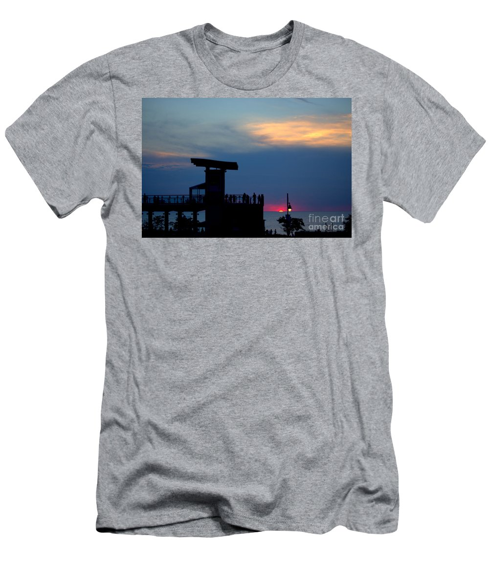 Grand Bend Men's T-Shirt (Athletic Fit) featuring the photograph Grand Bend Silhouettes by John Scatcherd