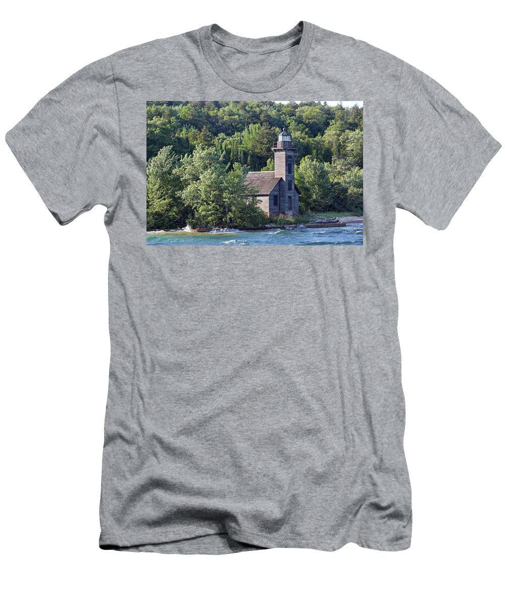 Light House Men's T-Shirt (Athletic Fit) featuring the photograph Grand Island East Channel Light by Paul A Williams