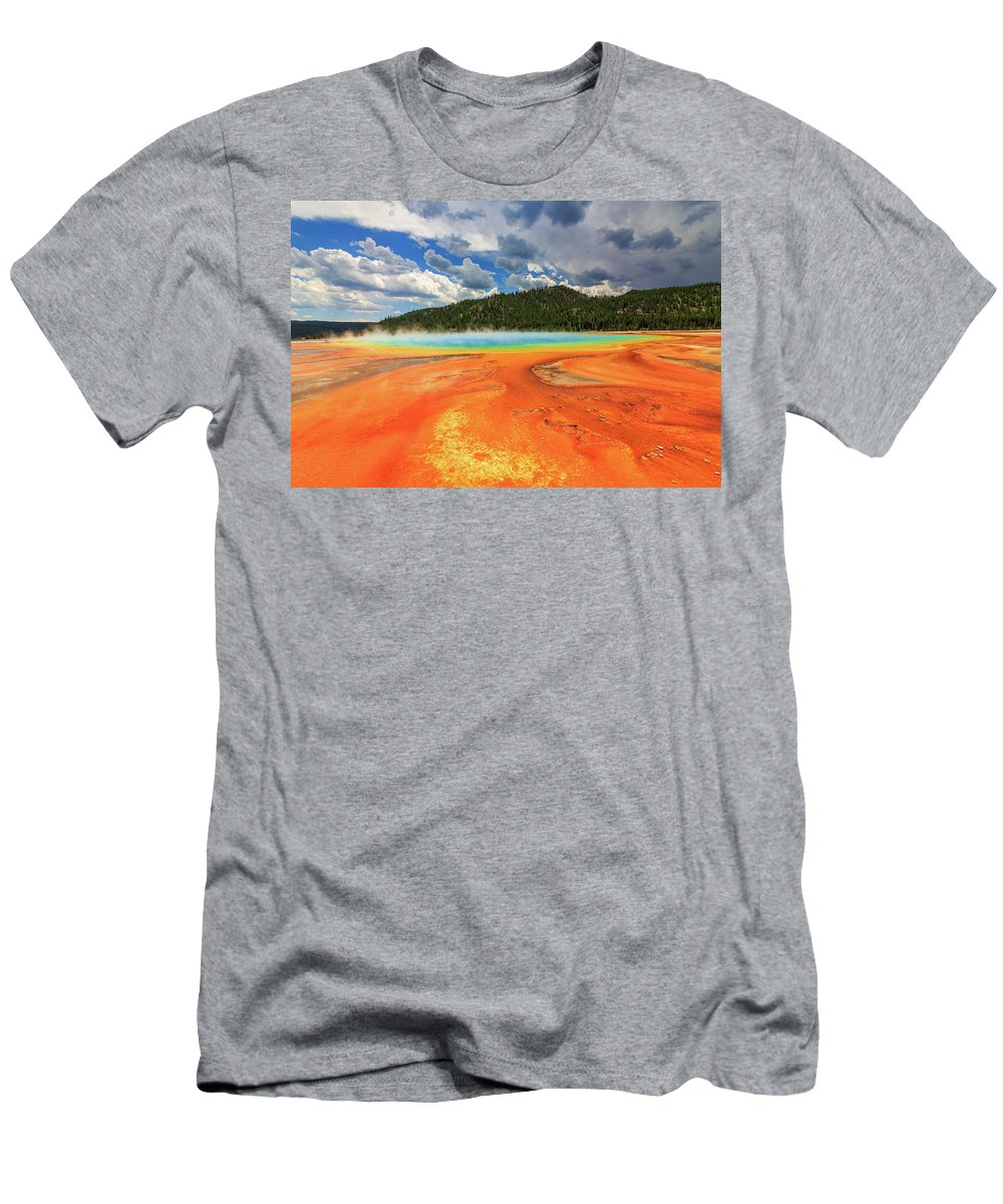 Yellowstone Men's T-Shirt (Athletic Fit) featuring the photograph Grand Prismatic Spring by Scott Moore