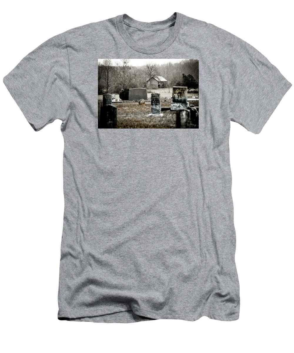 Graveyard Men's T-Shirt (Athletic Fit) featuring the photograph Graveyard Barn by Chris Jones