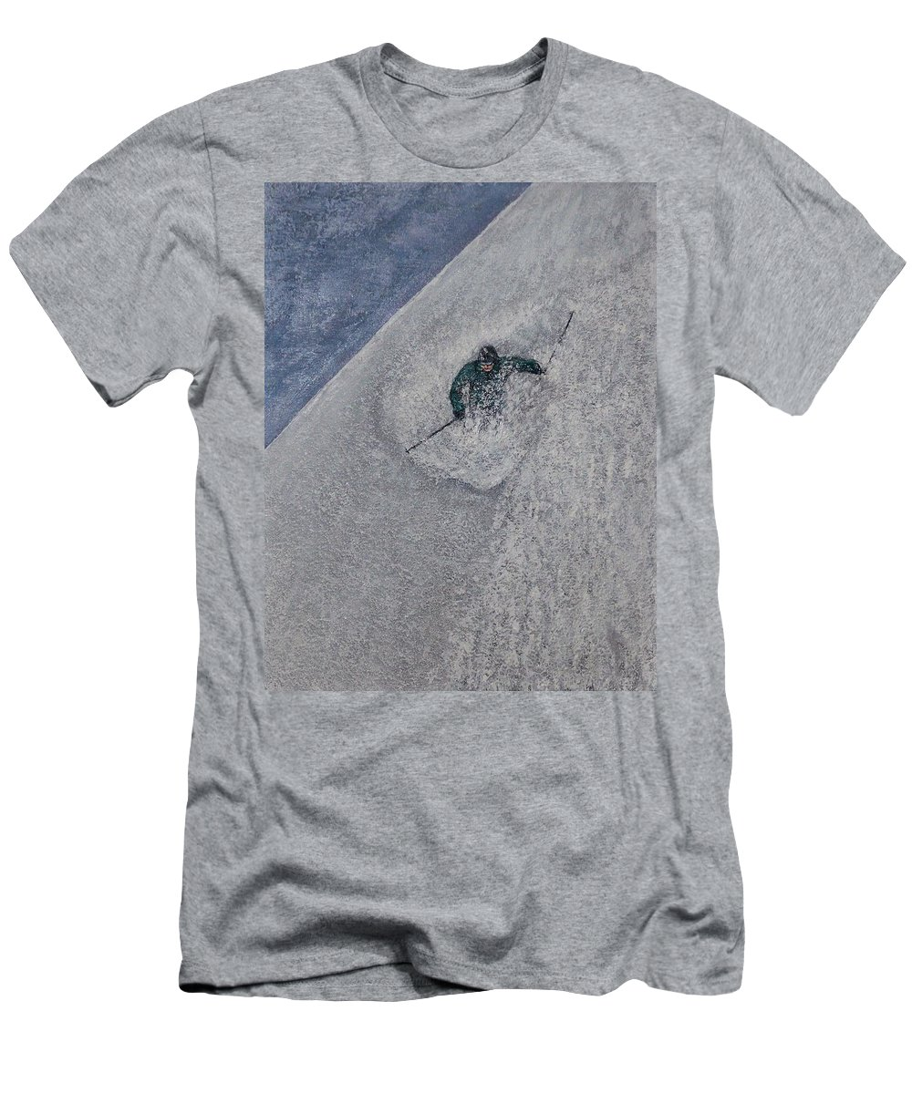 Ski Men's T-Shirt (Athletic Fit) featuring the painting Gravity by Michael Cuozzo