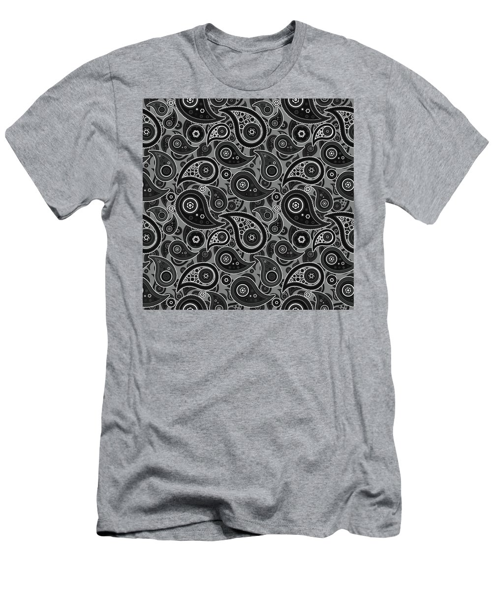 Gray Men's T-Shirt (Athletic Fit) featuring the digital art Gray Paisley Design by Ross