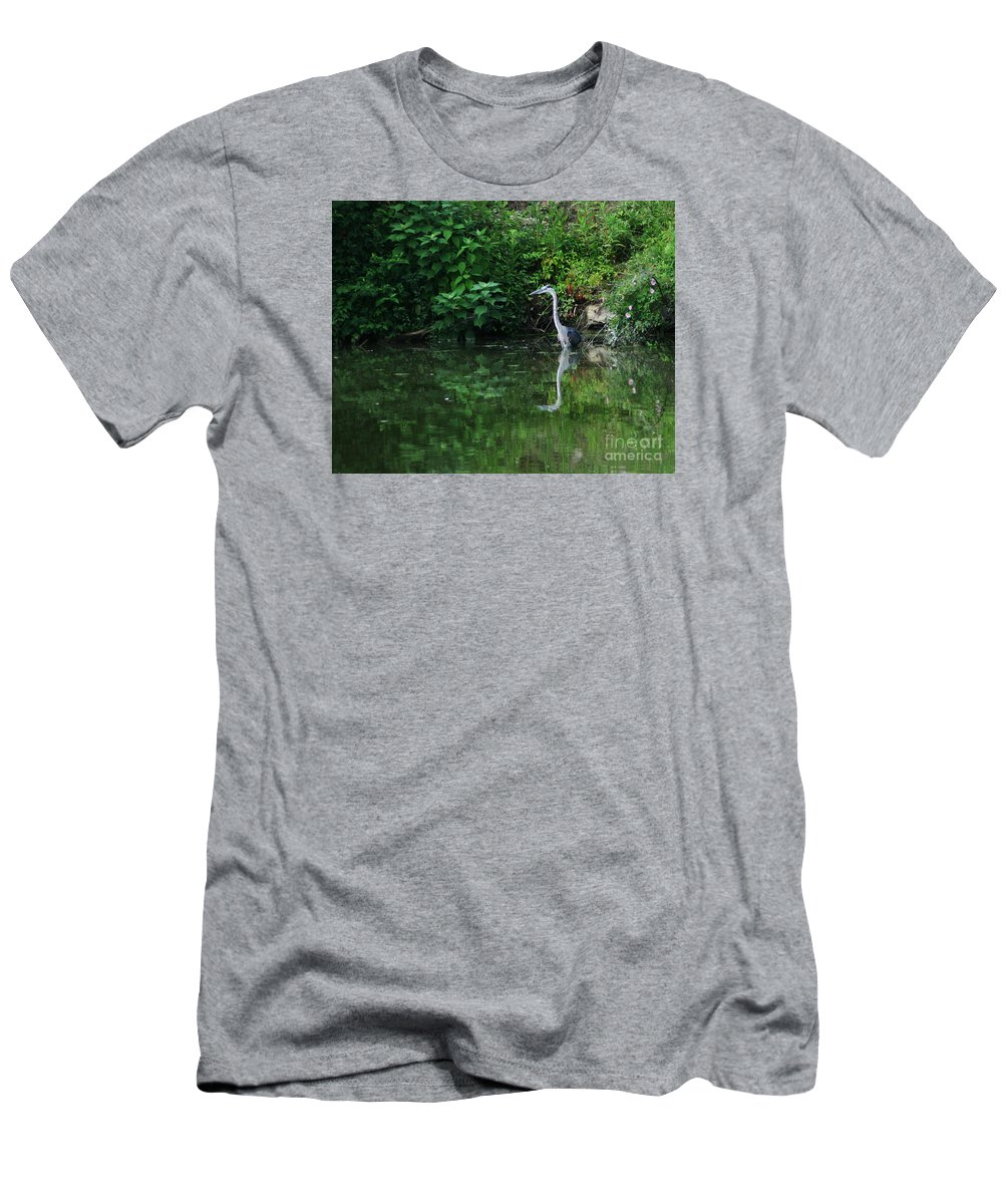 Lanscape Water Bird Crane Heron Blue Green Flowers Great Photograph Men's T-Shirt (Athletic Fit) featuring the photograph Great Blue Heron Hunting Fish by Dawn Downour