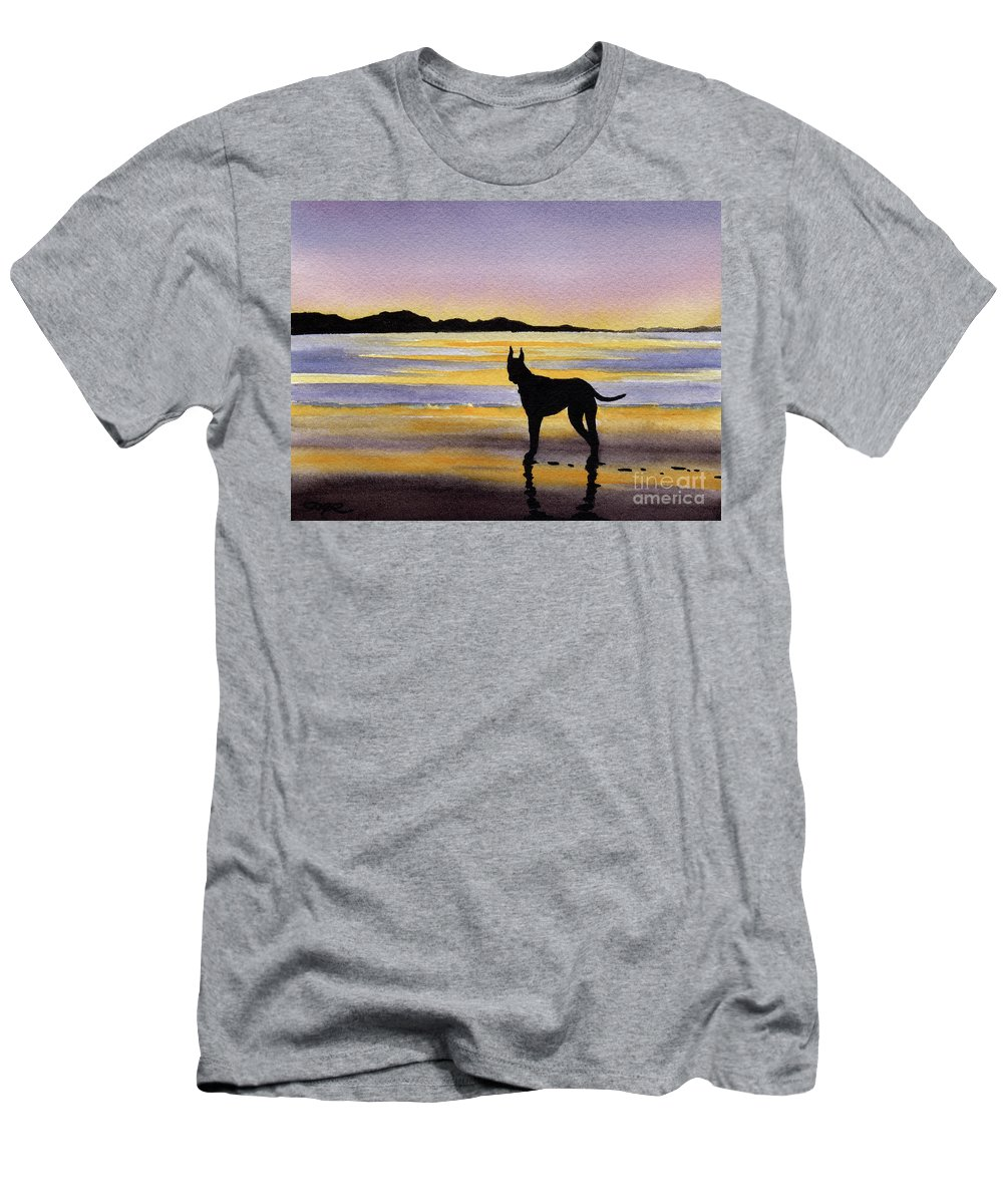 Great Men's T-Shirt (Athletic Fit) featuring the painting Great Dane At Sunset by David Rogers
