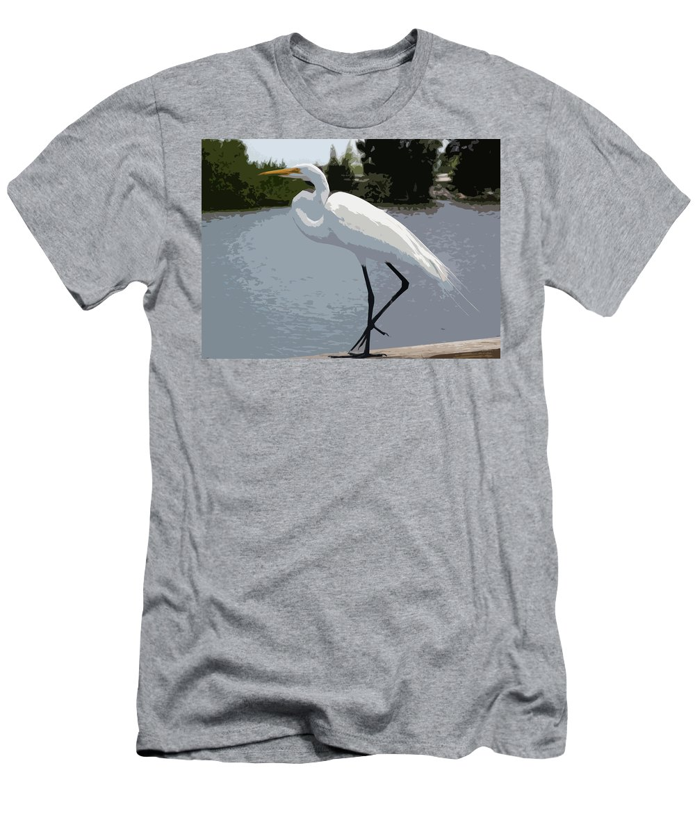 Great Men's T-Shirt (Athletic Fit) featuring the painting Great Egret  Ardea Alba by Allan Hughes