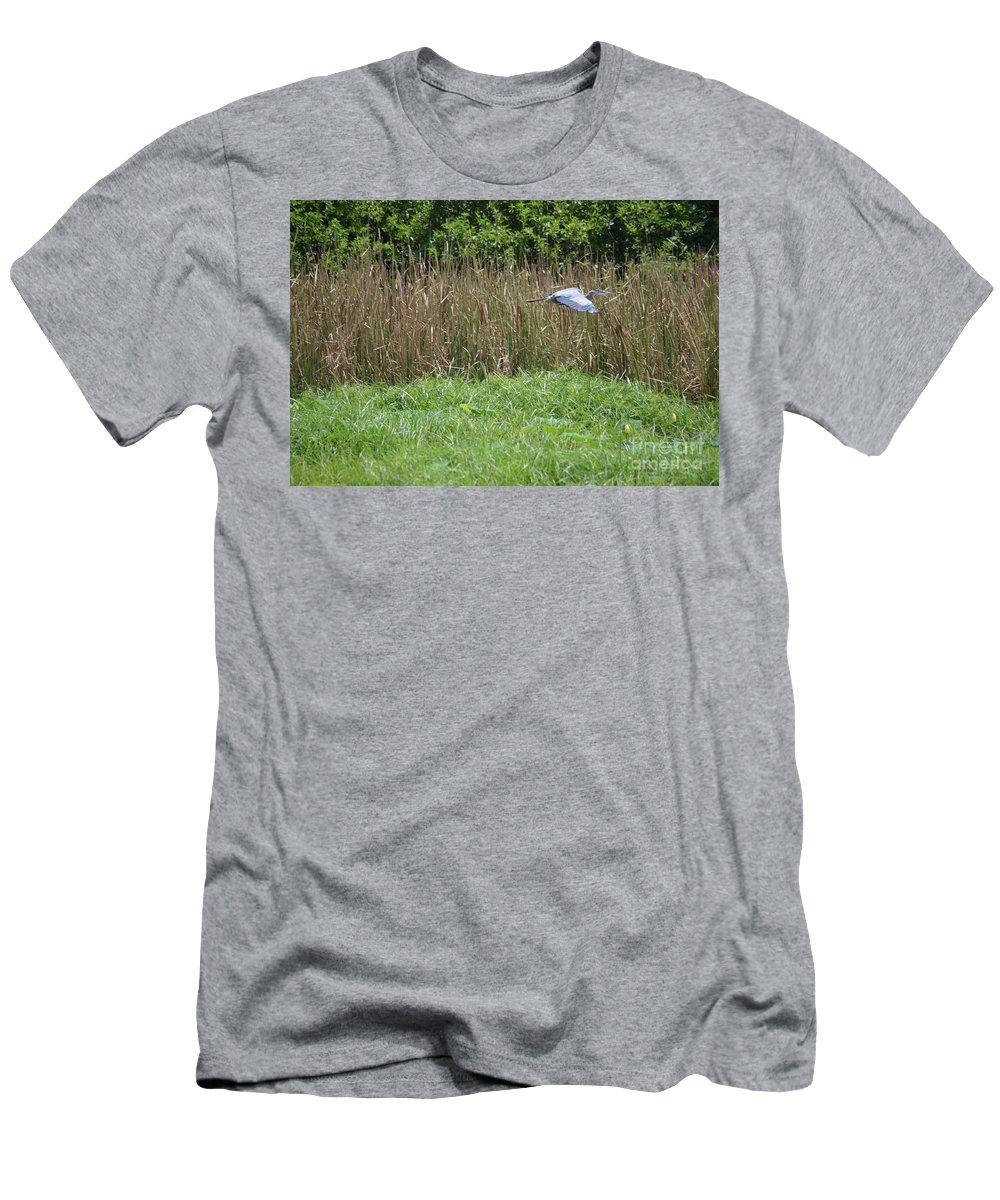 Great Heron In Flight 2 Prints Men's T-Shirt (Athletic Fit) featuring the photograph Great Heron In Flight 2 by Ruth Housley