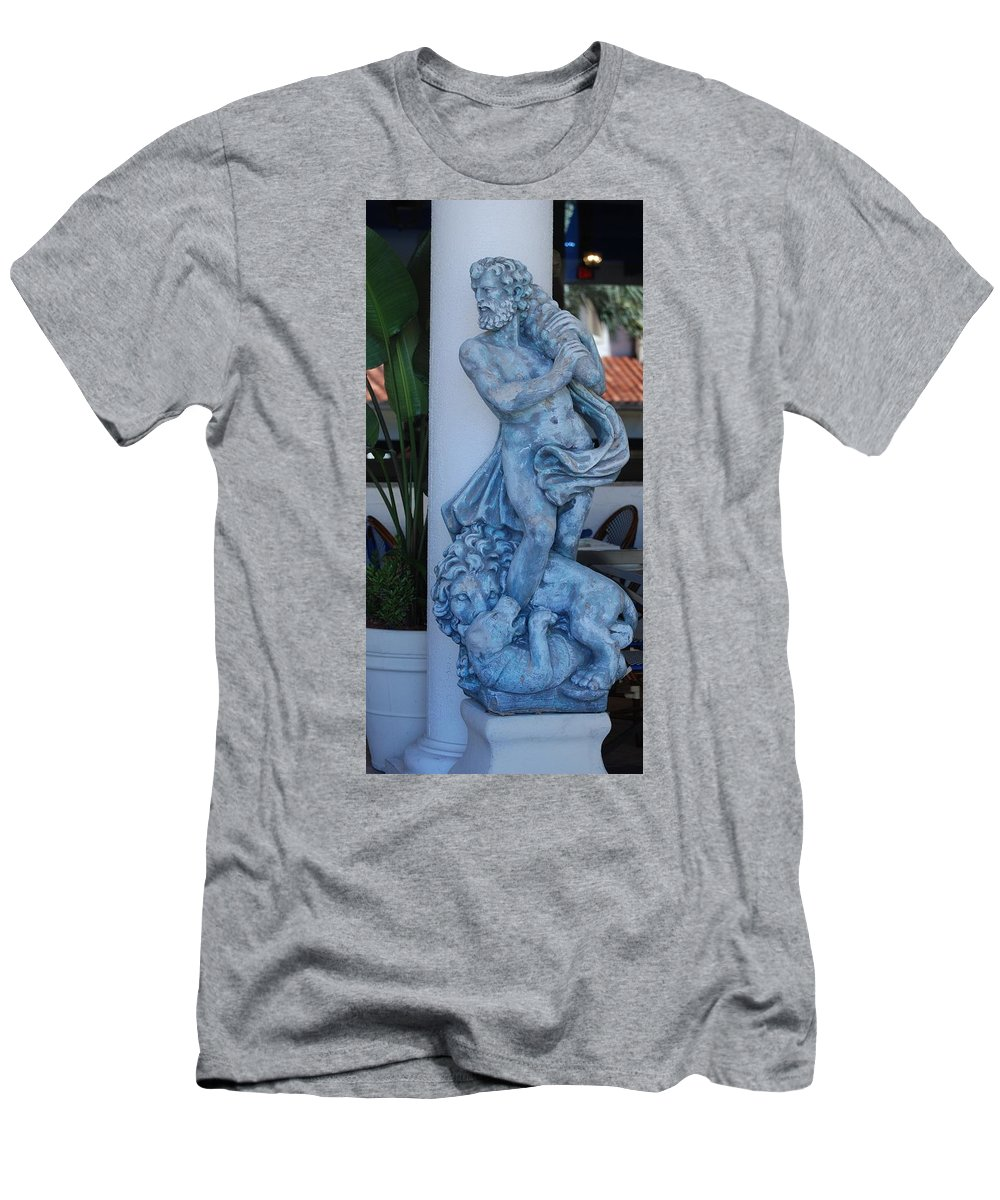 Statue Men's T-Shirt (Athletic Fit) featuring the photograph Greek Dude And Lion In Blue by Rob Hans