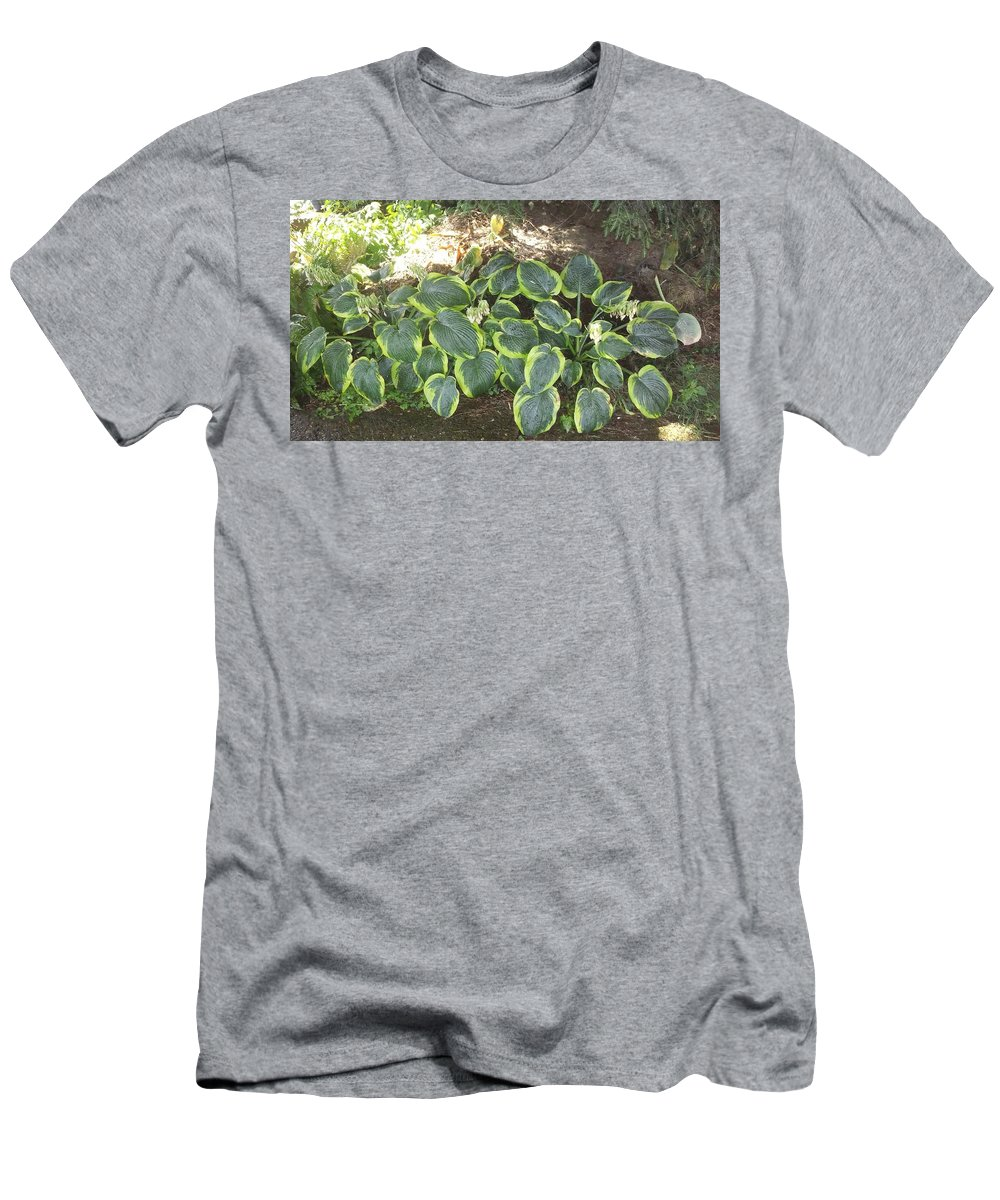 Plant From My House Men's T-Shirt (Athletic Fit) featuring the photograph Green Hausta Cartoon by Wendy Dunmeyer