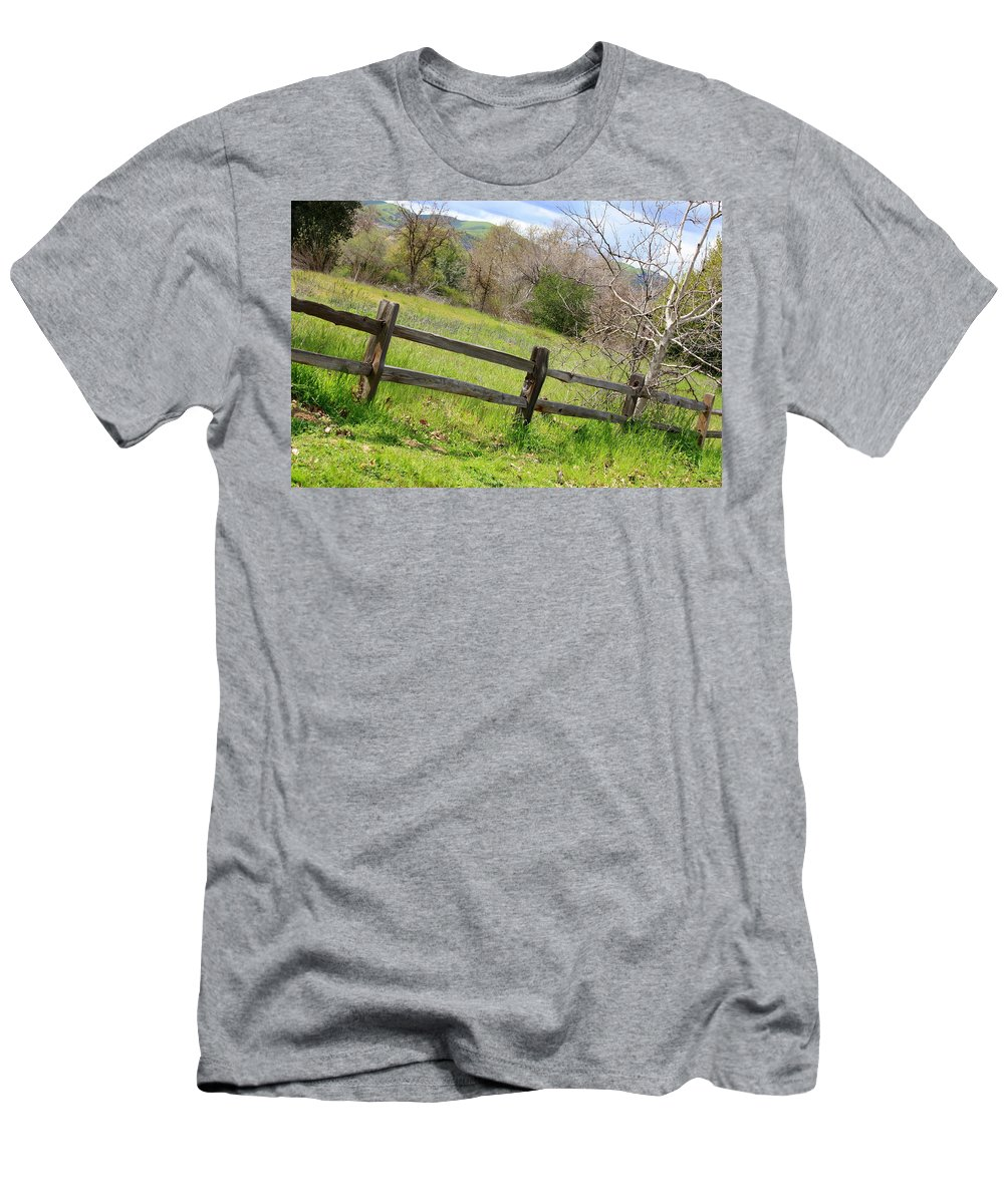 Landscape Men's T-Shirt (Athletic Fit) featuring the photograph Green Hills And Rustic Fence by Carol Groenen