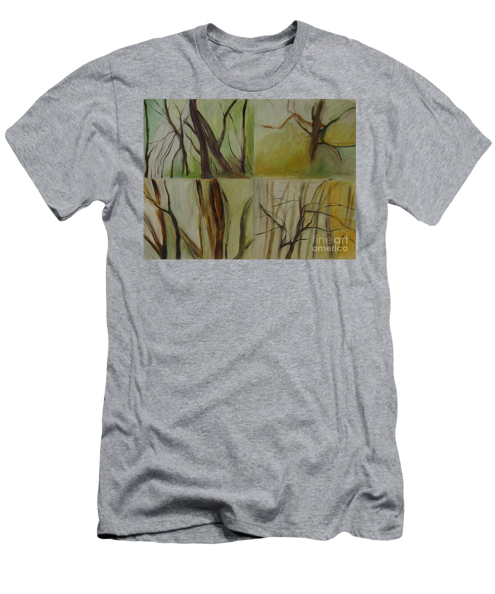 Spring Young Trees Saplings Trees Men's T-Shirt (Athletic Fit) featuring the painting Green Sonnet by Leila Atkinson