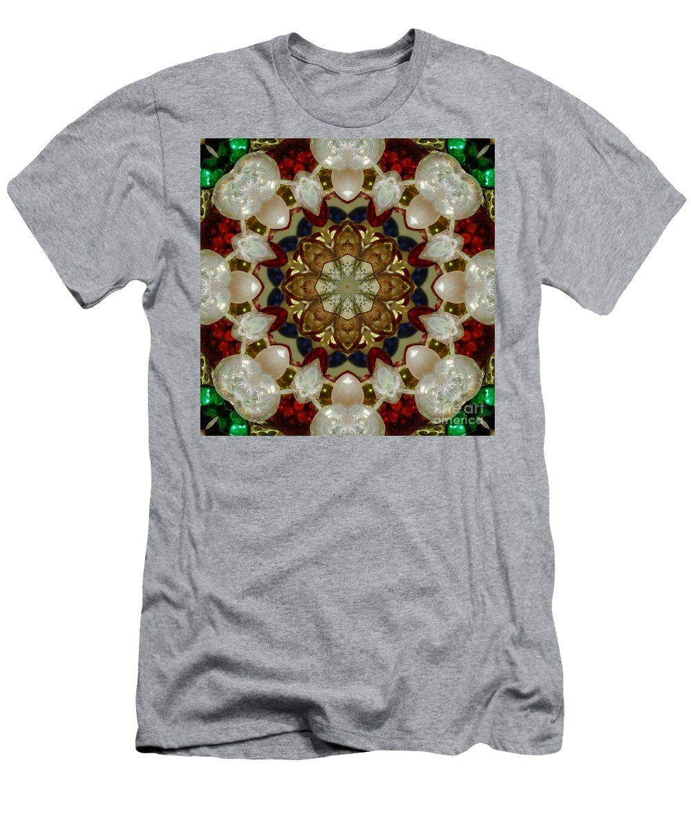 Green Men's T-Shirt (Athletic Fit) featuring the digital art Green White Red Blue Kaleidoscope 1 by Chandra Nyleen