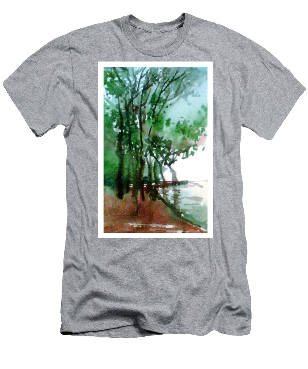 Water Color Men's T-Shirt (Athletic Fit) featuring the painting Greens by Anil Nene