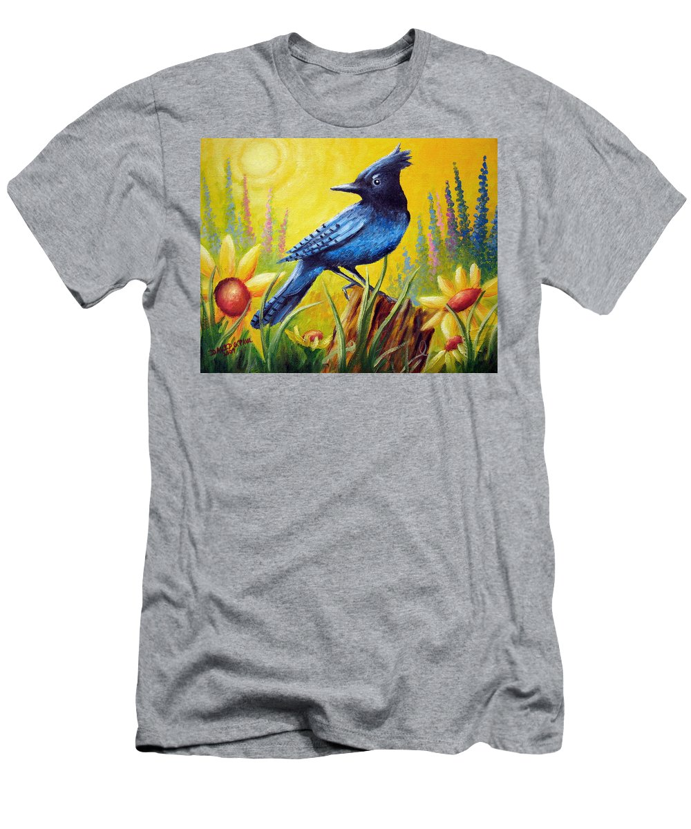 Bird Men's T-Shirt (Athletic Fit) featuring the painting Greeting The Day by David G Paul